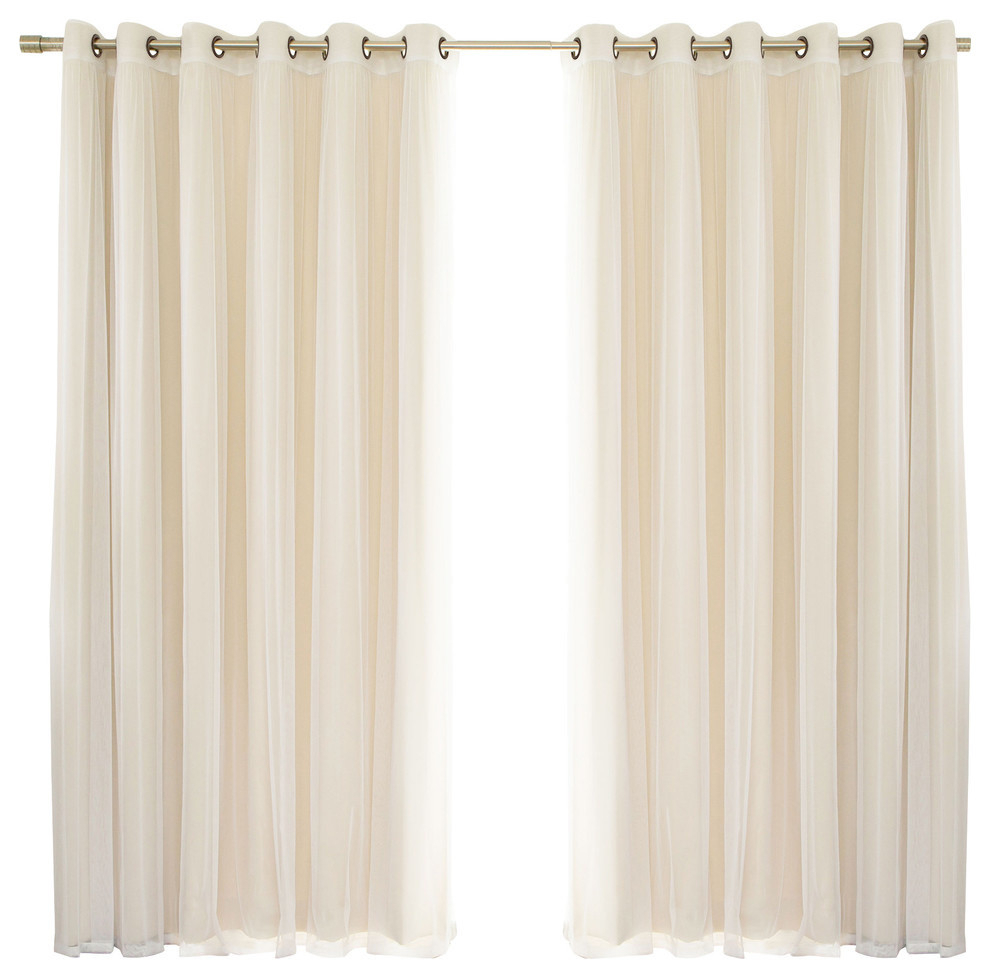 2 Piece Mix And Match Wide Tulle Sheer Lace Blackout Curtain Set, Beige For Mix And Match Blackout Tulle Lace Sheer Curtain Panel Sets (View 16 of 20)