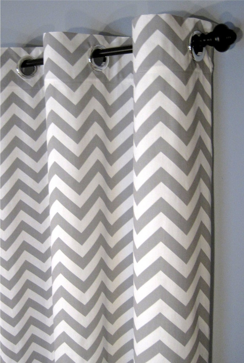 "25 X 84 Inch Grey Zig Zag Grommet Curtains – Two Chevron Curtain Panels – 25""x84"" – Free Shipping Within Chevron Blackout Grommet Curtain Panels (View 1 of 20)"