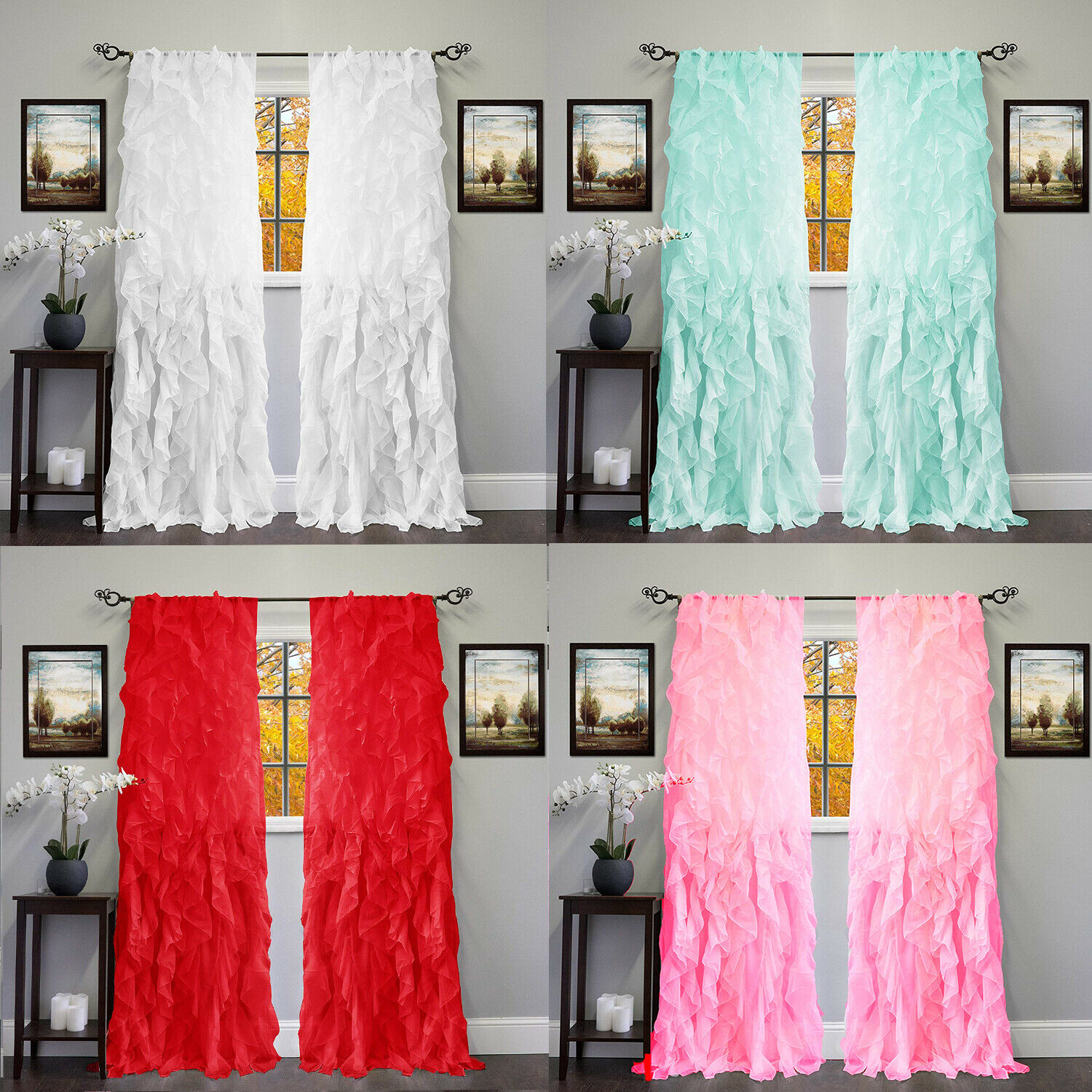 2pc Cascade Shabby Chic Sheer Ruffled Curtain Panel Throughout Sheer Voile Waterfall Ruffled Tier Single Curtain Panels (View 8 of 20)