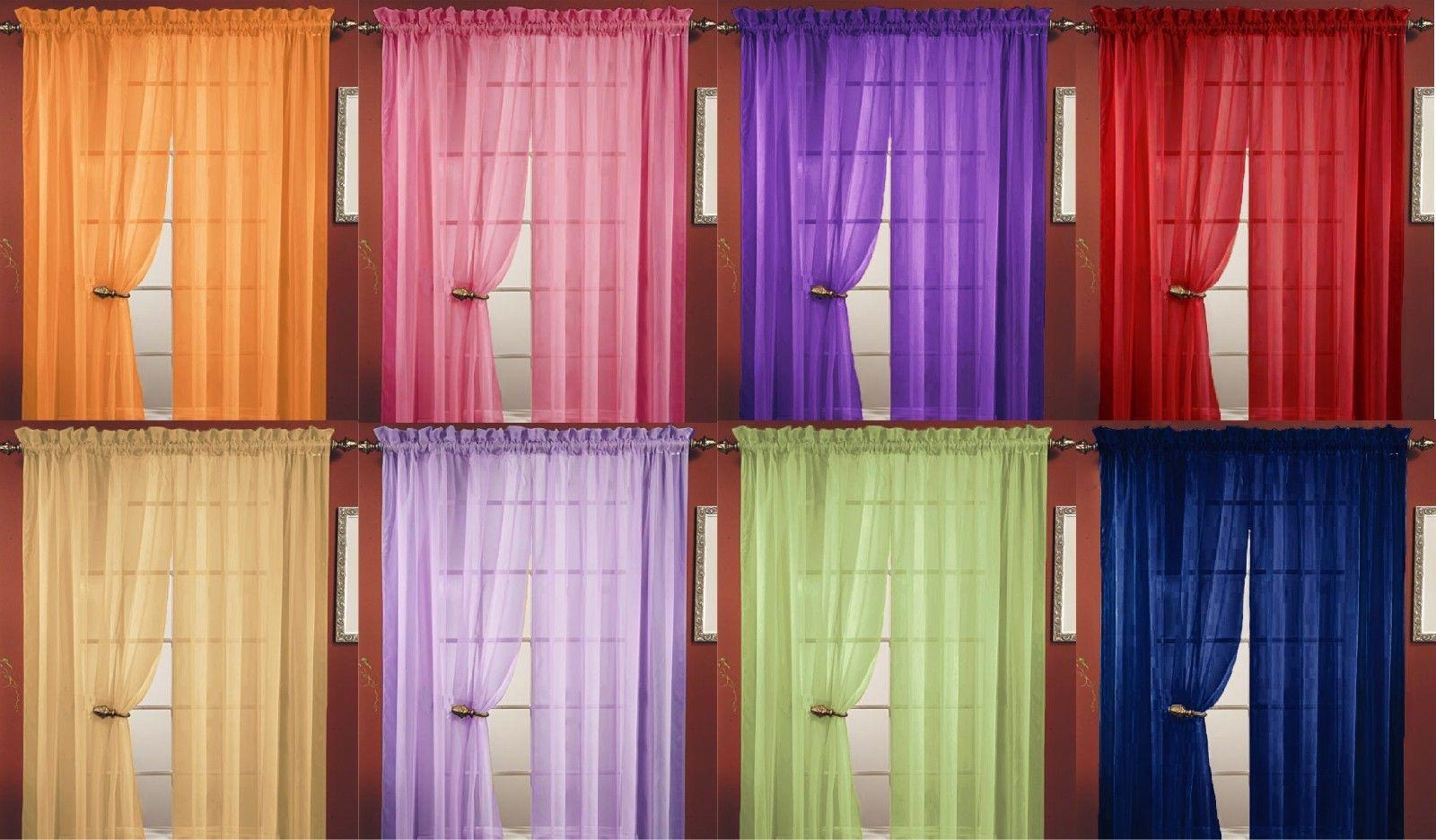 2pc Sheer Voile Window Room Curtain Pane For Vina Sheer Bird Single Curtain Panels (View 12 of 30)