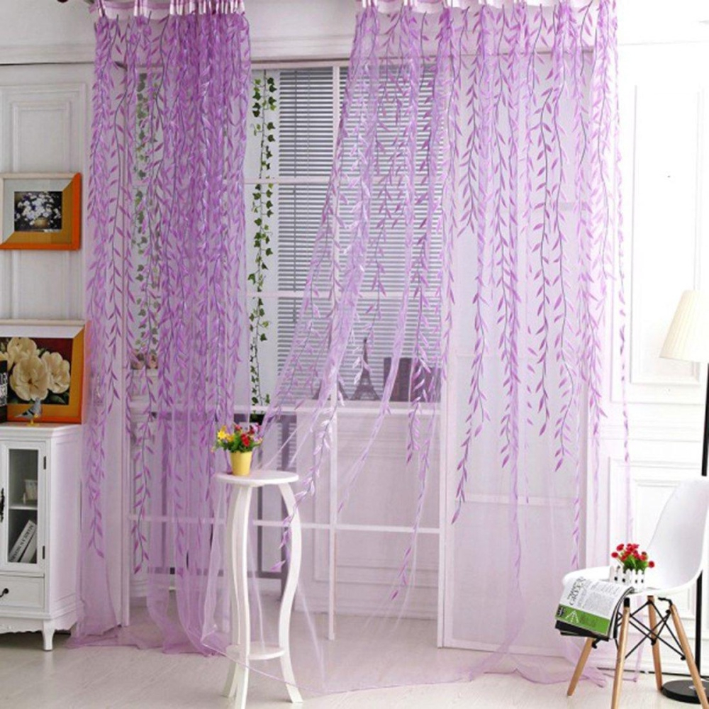 2pcs Willow Window Panels Drapes Curtains Sheer Voile Tulle Home Room 39.4x (View 16 of 30)