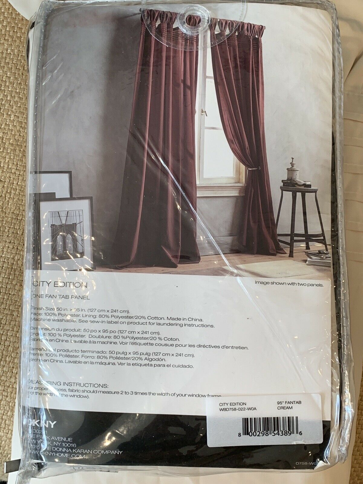 "3 New Dkny City Edition Cream Window Curtain Tab Top Pleated Panels 50 X 95"" Intended For Vue Elements Priya Tab Top Window Curtains (View 20 of 30)"