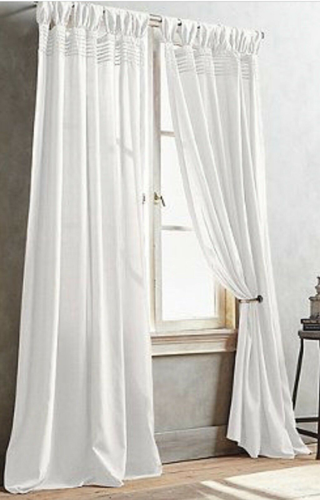 "3 New Dkny City Edition Cream Window Curtain Tab Top Pleated Panels 50 X 95"" Throughout Vue Elements Priya Tab Top Window Curtains (View 13 of 30)"