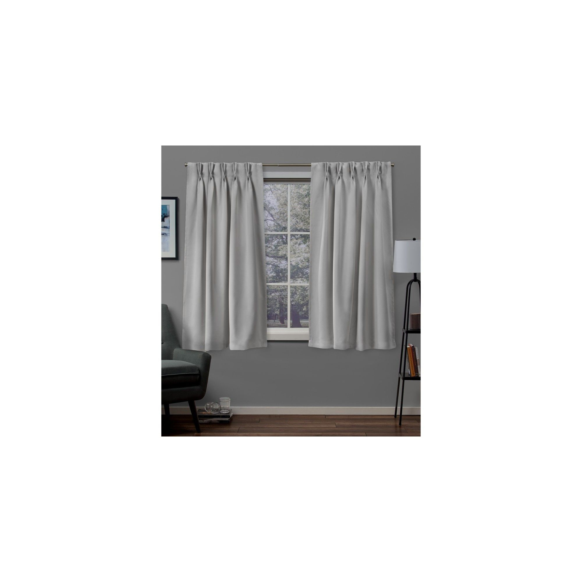 "30""x63"" Sateen Twill Woven Blackout Pinch Pleat Window Regarding Sateen Woven Blackout Curtain Panel Pairs With Pinch Pleat Top (View 1 of 20)"