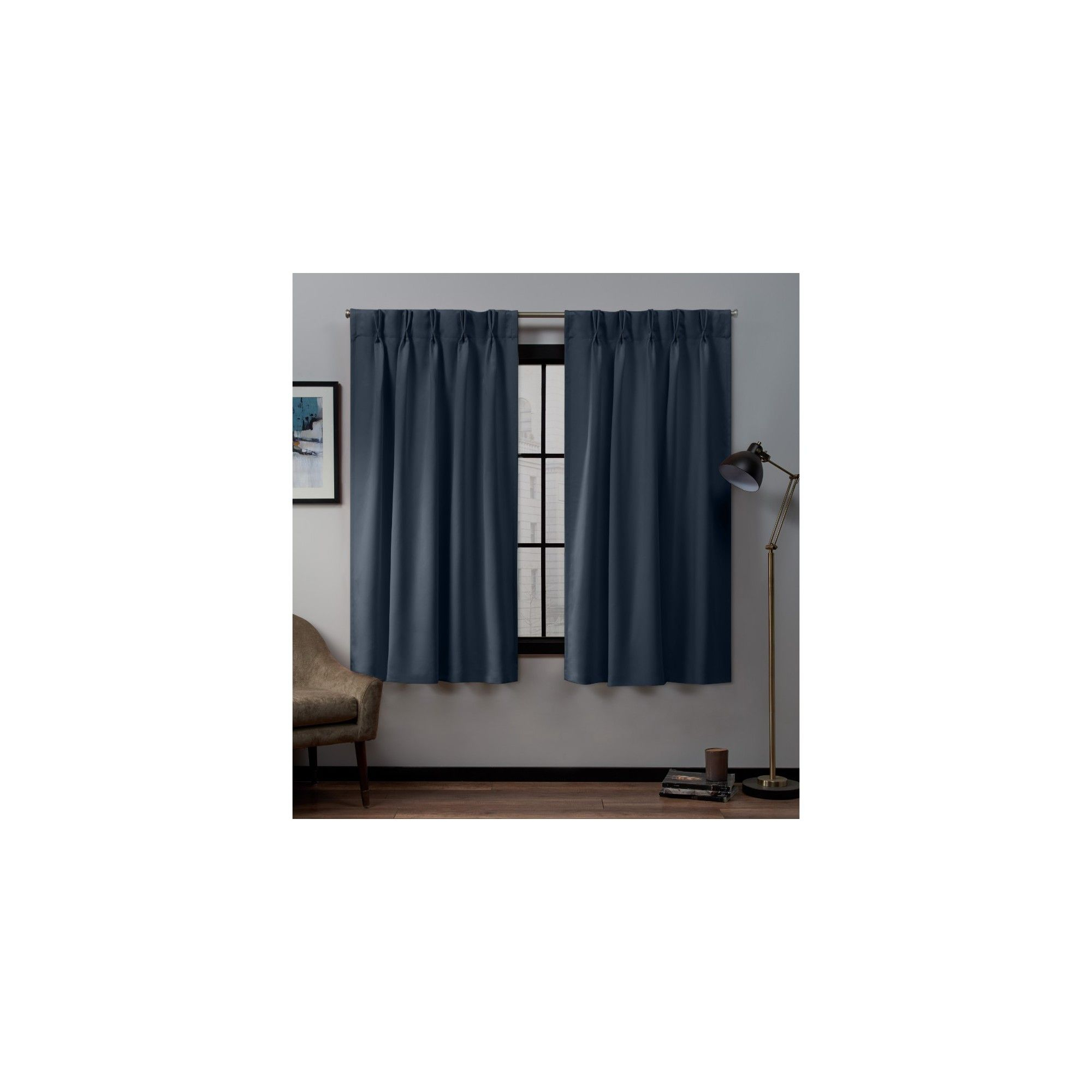 "30""x96"" Sateen Twill Woven Blackout Pinch Pleat Window Pertaining To Sateen Woven Blackout Curtain Panel Pairs With Pinch Pleat Top (View 2 of 20)"