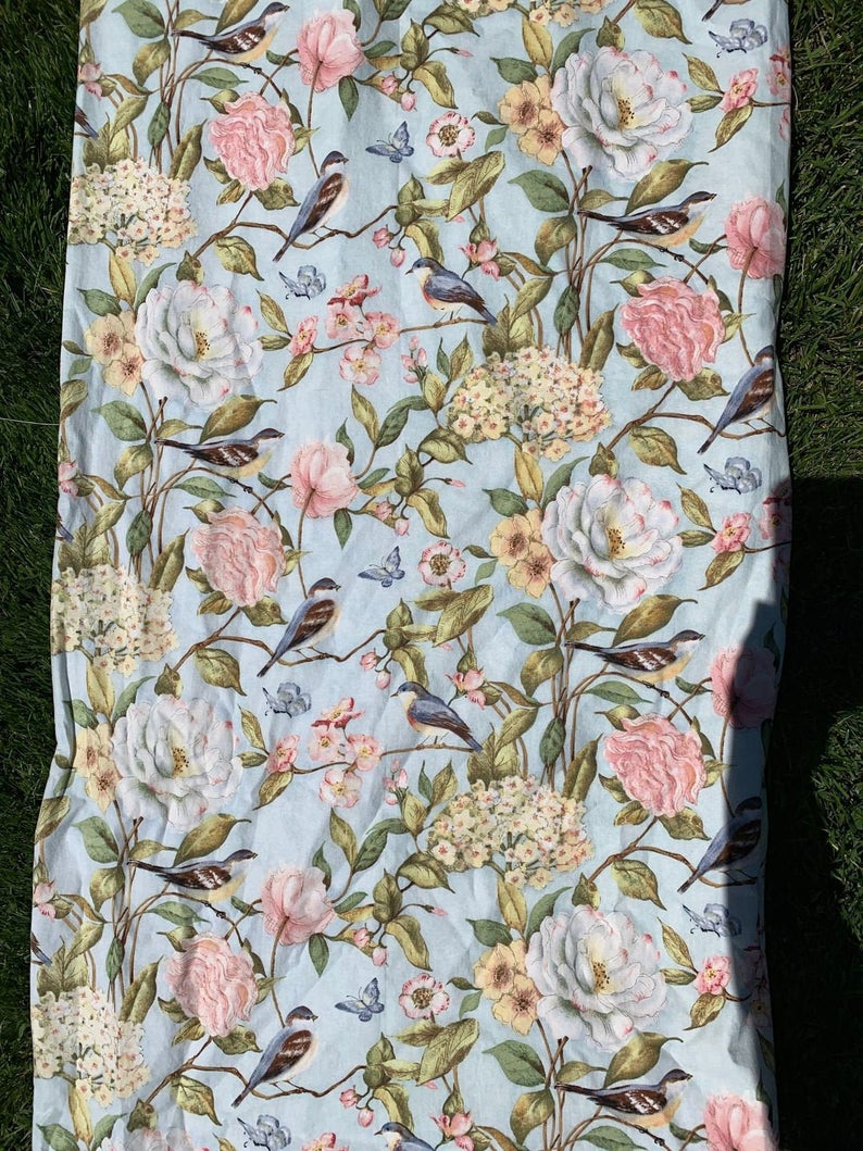 4 Vintage Curtains Cotton Pale Blue Bird Drapes Pink Yellow Flowers Green Leaves Brown & White Four 4 Panels 47 Inches Long X 44inches Wide In Gray Barn Dogwood Floral Curtain Panel Pairs (View 15 of 20)