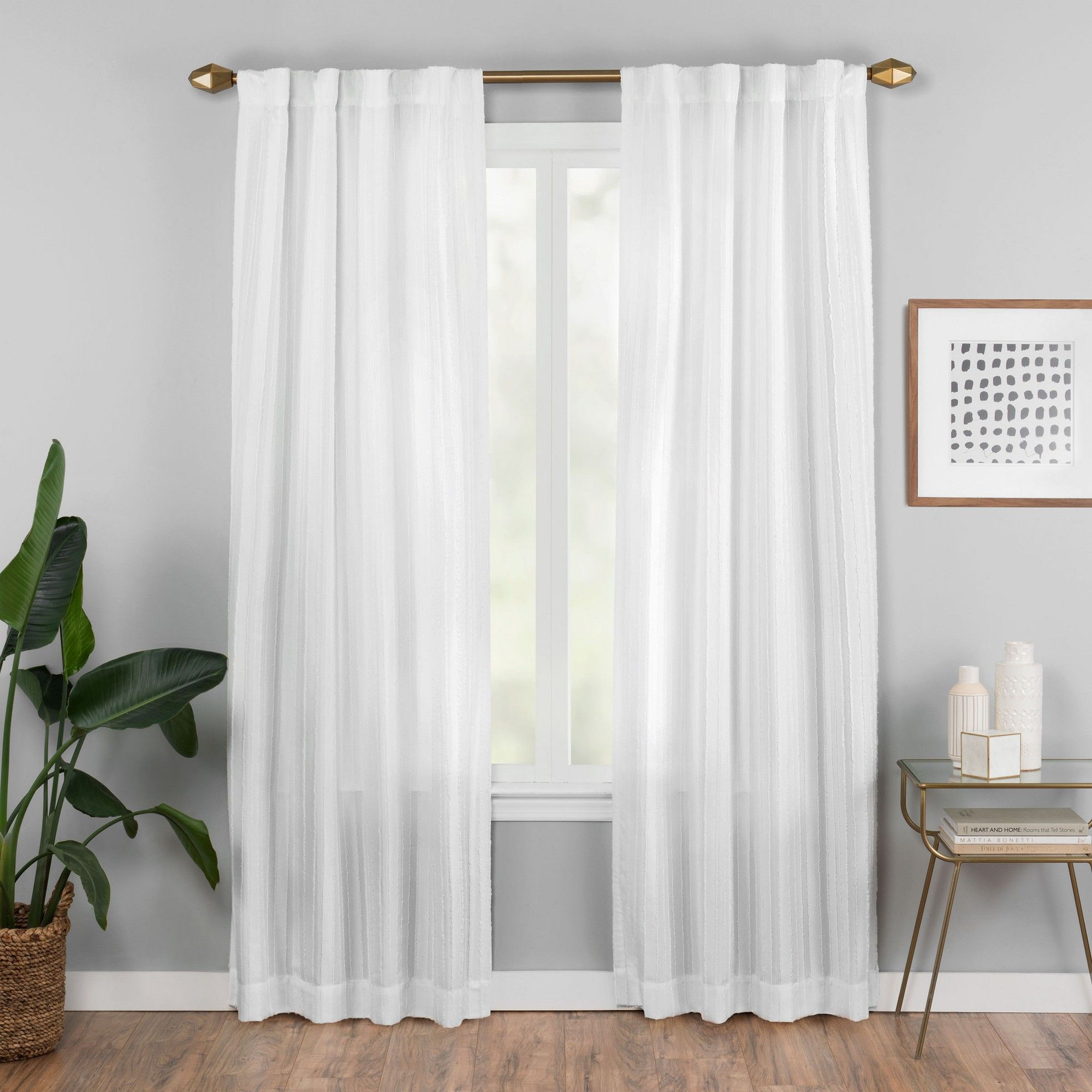 "42""x84"" Vaughan Fashion Curtain White – Vue Elements In Vue Elements Priya Tab Top Window Curtains (View 10 of 30)"
