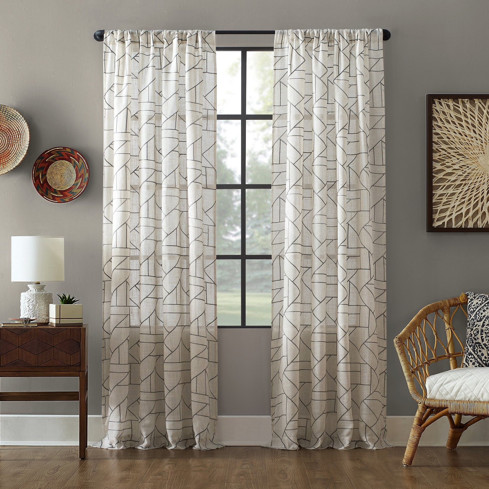 Featured Photo of Archaeo Jigsaw Embroidery Linen Blend Curtain Panels
