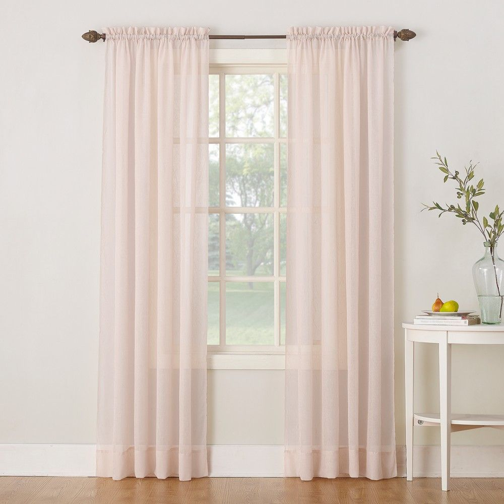"""51""""x63"""" Erica Crushed Sheer Voile Rod Pocket Curtain Panel In Erica Crushed Sheer Voile Grommet Curtain Panels (View 5 of 20)"""