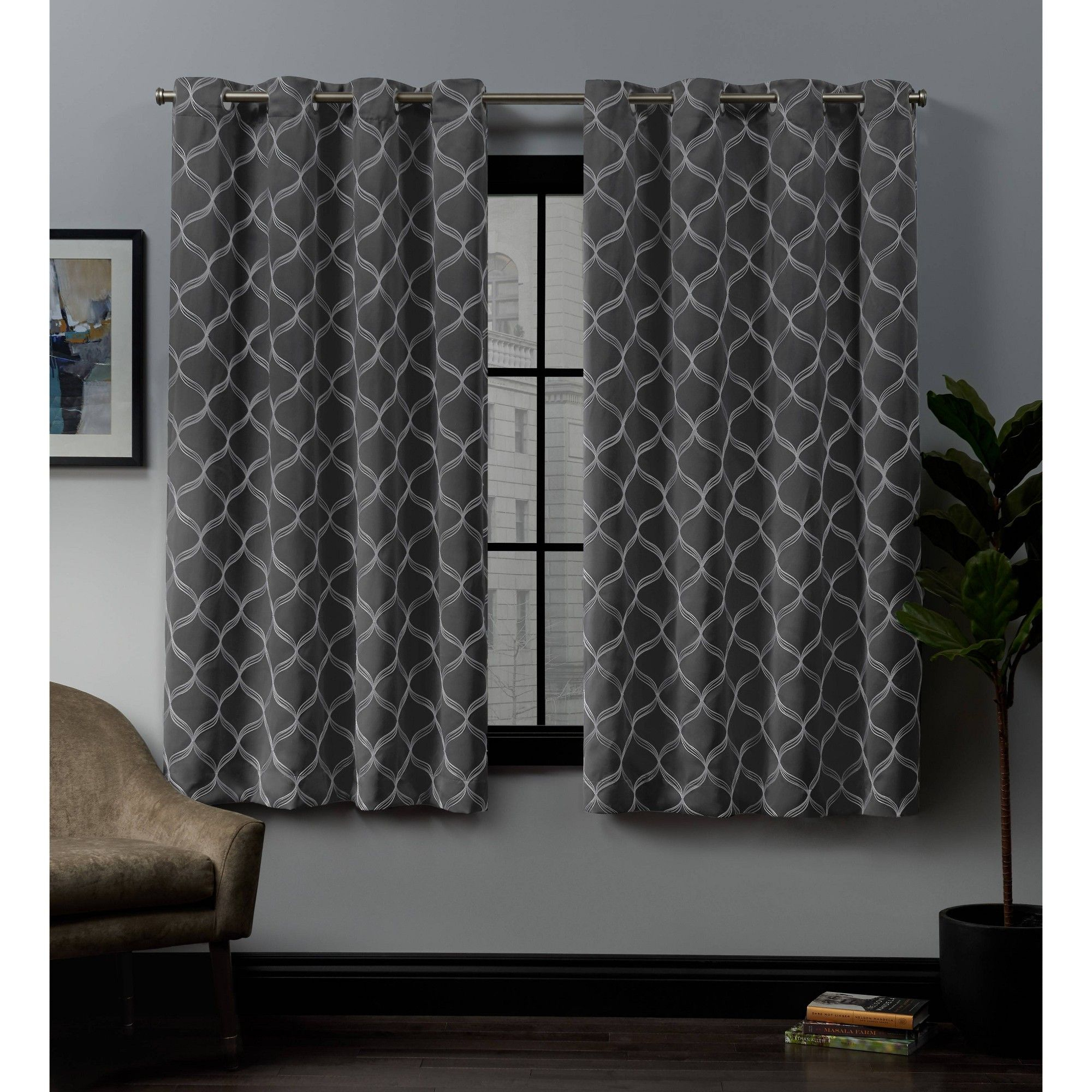 "52""x84"" Amelia Embroidered Grommet Top Blackout Window In Bethany Sheer Overlay Blackout Window Curtains (View 9 of 20)"