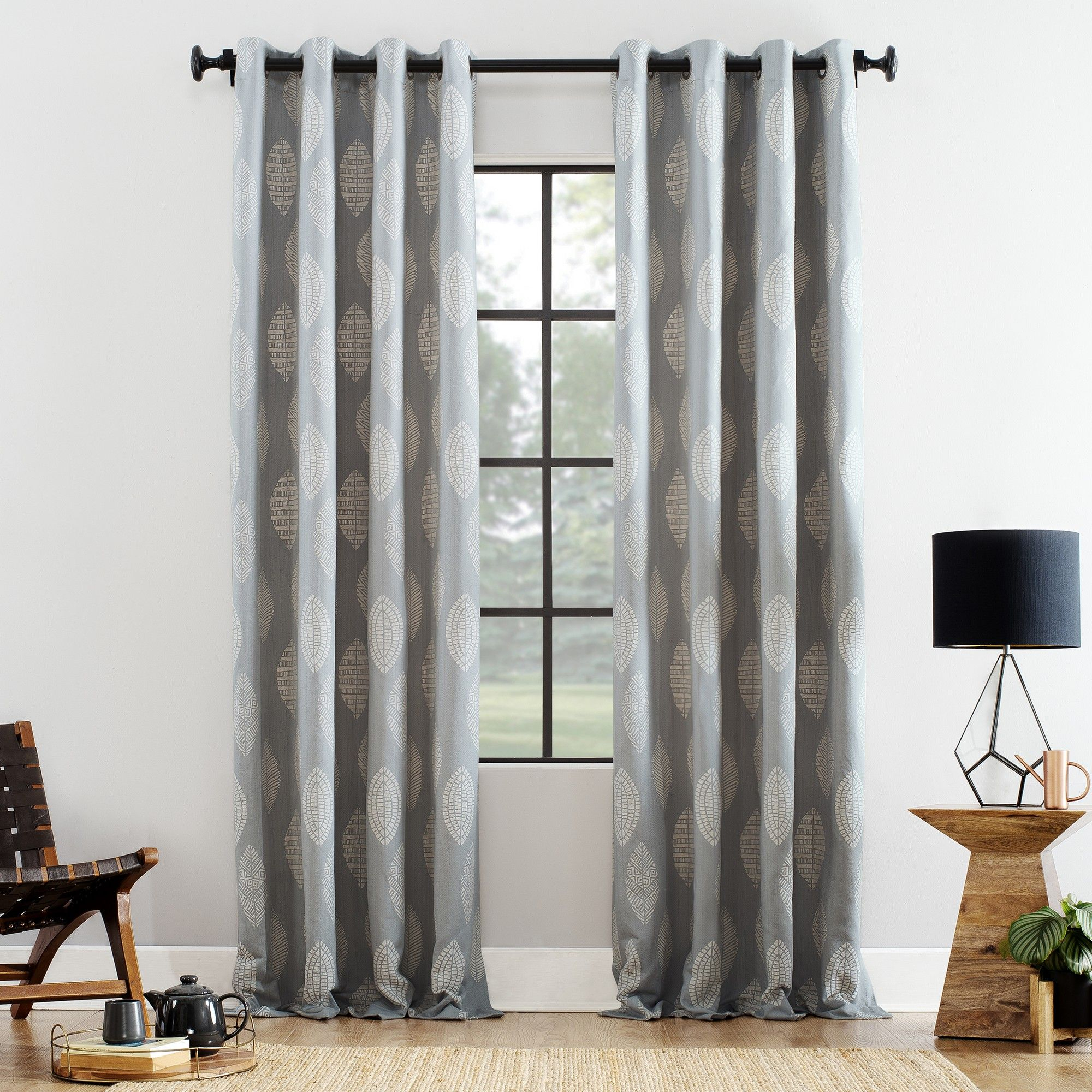 """52""""x84"""" Herringbone Leaf Cotton Blend Grommet Top Curtain In The Curated Nomad Duane Jacquard Grommet Top Curtain Panel Pairs (View 17 of 30)"""