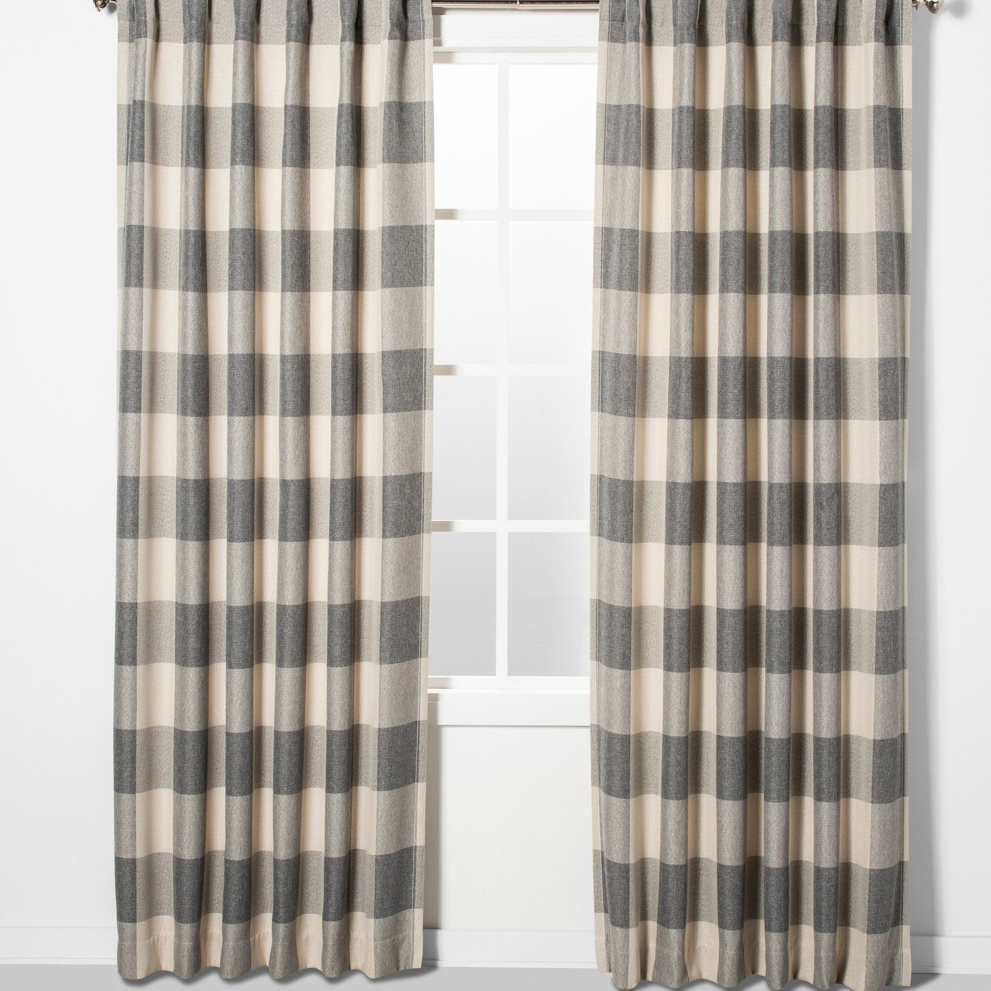 """52""""x84"""" Larkhall Plaid Blackout Window Curtain Panel Gray Inside Ombre Stripe Yarn Dyed Cotton Window Curtain Panel Pairs (View 6 of 20)"""