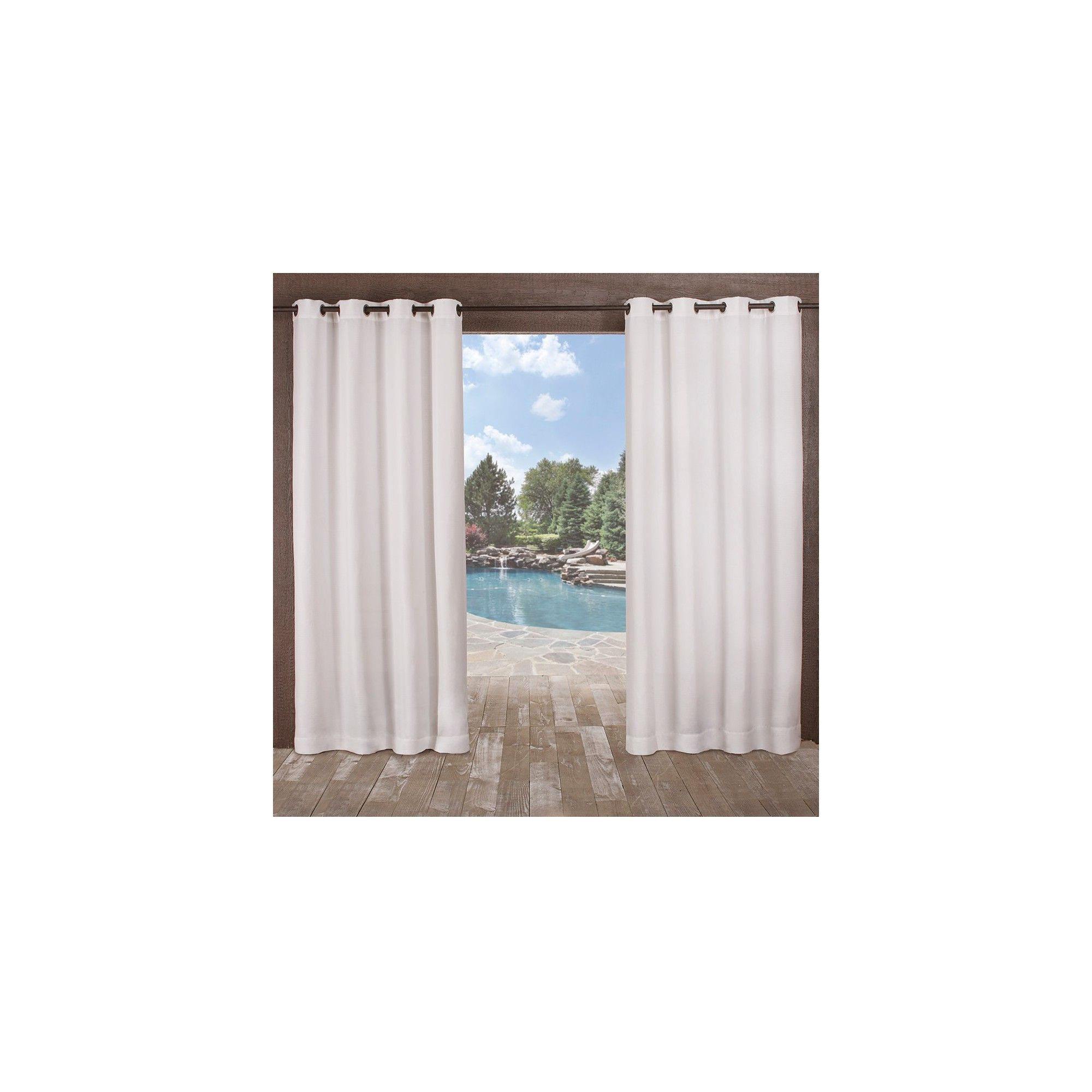 """54""""x108"""" Delano Heavyweight Textured Indoor/outdoor Grommet With Regard To Delano Indoor/outdoor Grommet Top Curtain Panel Pairs (View 18 of 20)"""