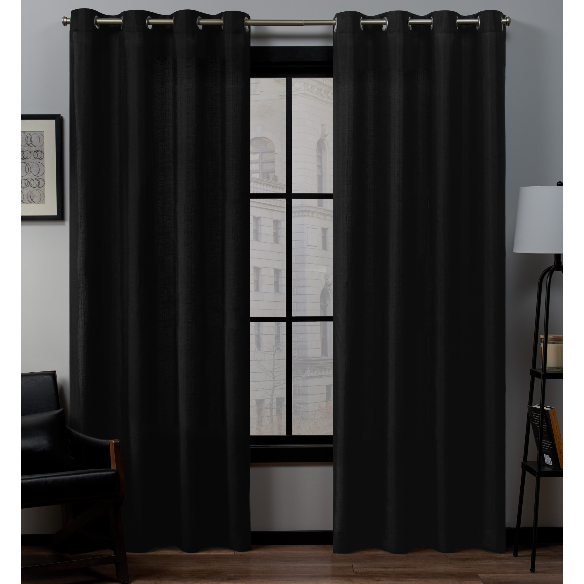 """54""""x108"""" Loha Linen Grommet Top Window Curtain Panel Pair For Eclipse Darrell Thermaweave Blackout Window Curtain Panels (View 19 of 20)"""