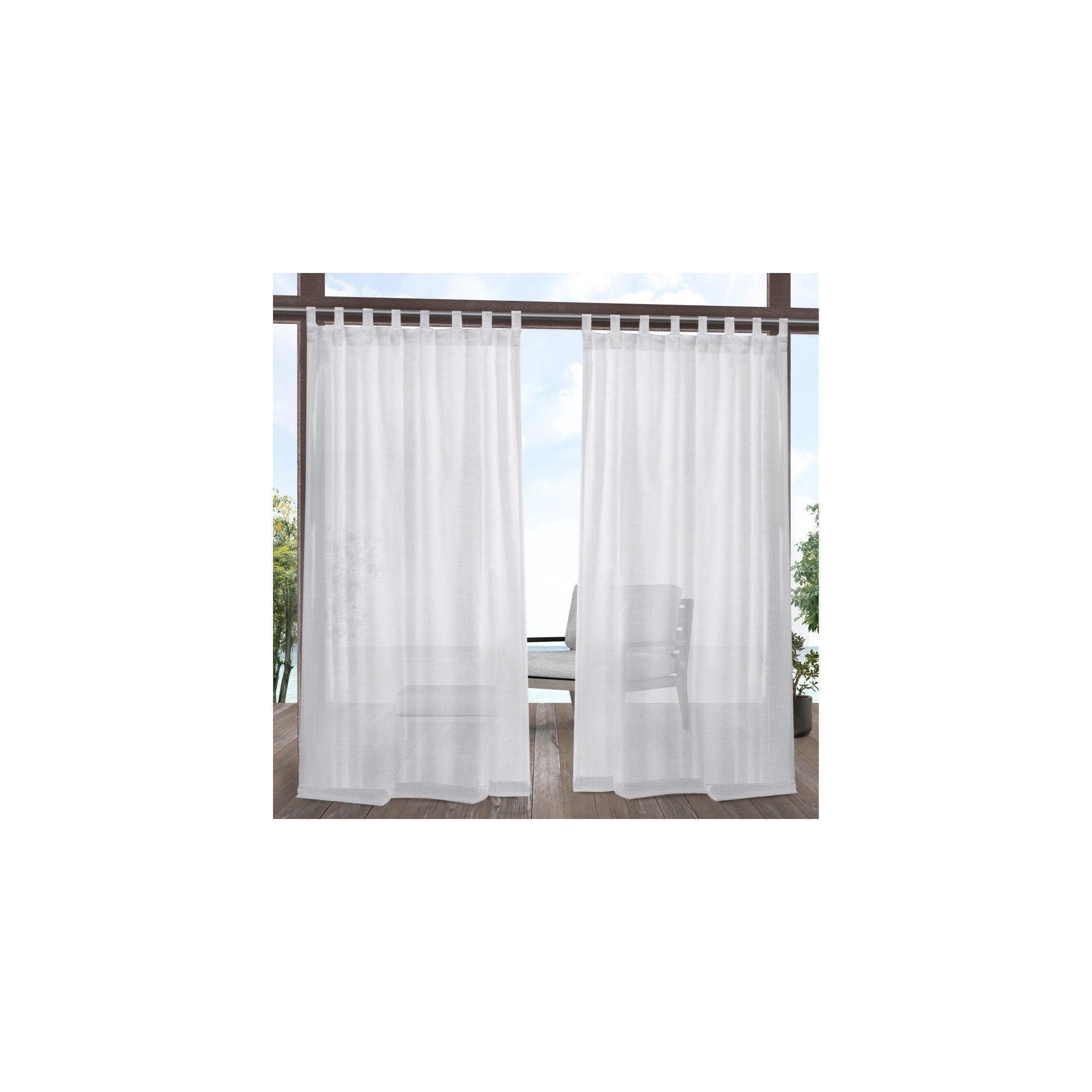 """54""""x96"""" Miami Indoor/outdoor Tab Top Window Curtain Panel Inside Penny Sheer Grommet Top Curtain Panel Pairs (View 12 of 20)"""
