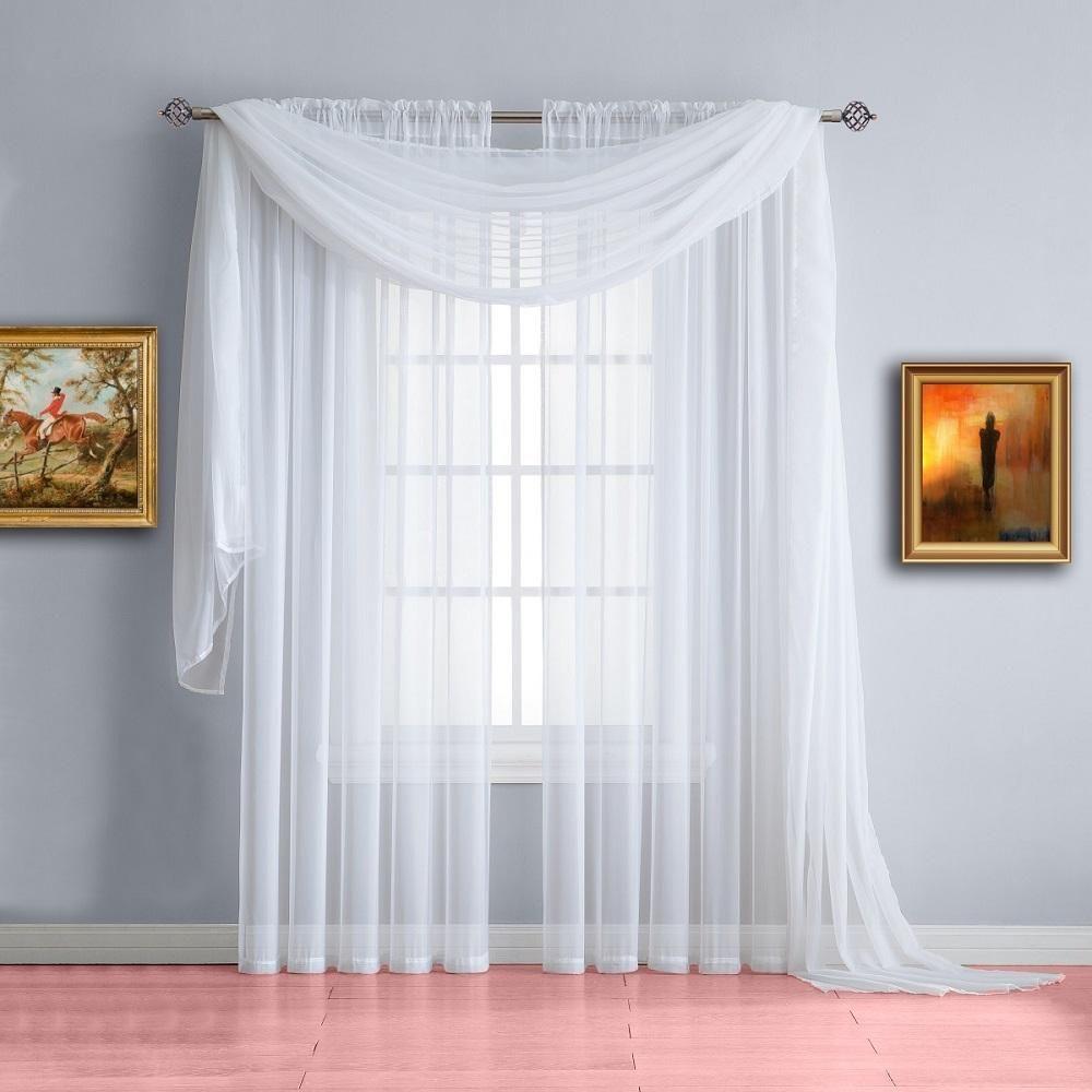 560 Weiß 140×600 Voile Querbehang Freihanddeko – Artofit Within Kaylee Solid Crushed Sheer Window Curtain Pairs (View 19 of 20)