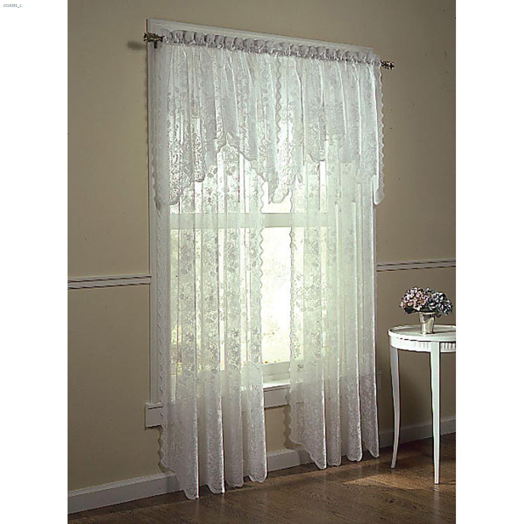 "58"" X 32"" Alison Valance Throughout Alison Rod Pocket Lace Window Curtain Panels (Image 1 of 20)"