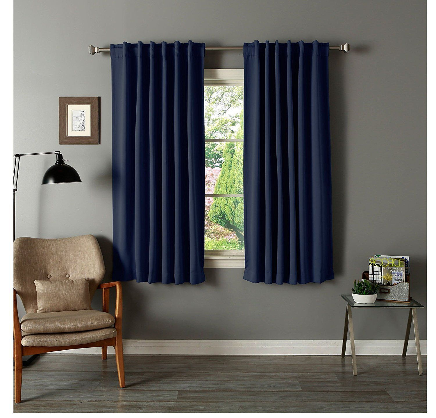 63 Inch Girls Navy Solid Color Blackout Curtain Panel Pair With Regard To Thermal Rod Pocket Blackout Curtain Panel Pairs (View 6 of 30)