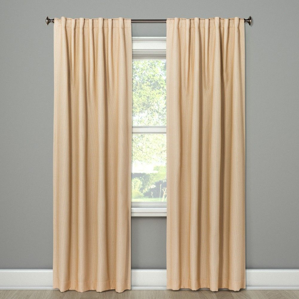 "84""x50"" Small Check Blackout Curtain Panel Tan – Threshold For Inez Patio Door Window Curtain Panels (View 12 of 20)"