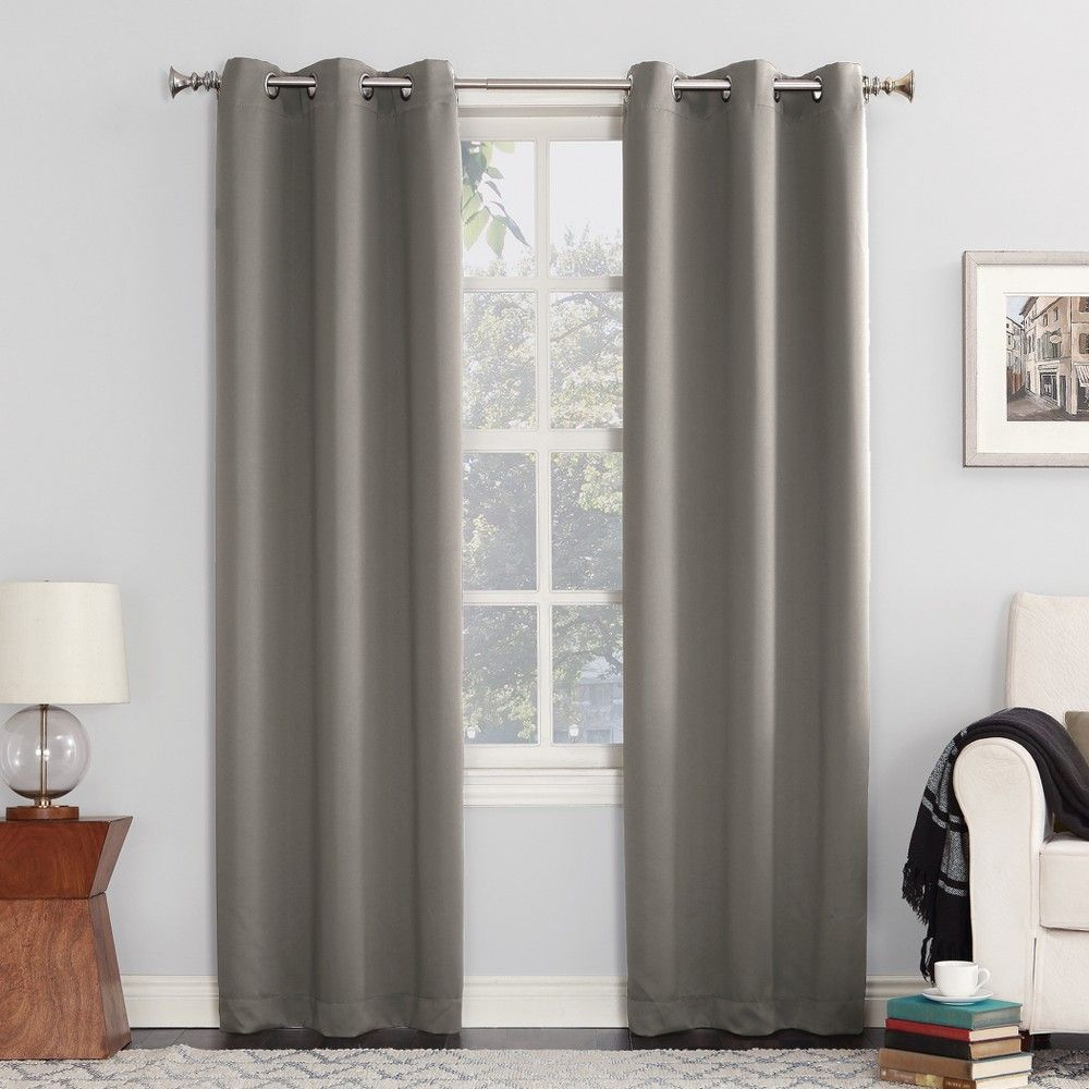 A Sun Zero Greenwich Blackout Curtain Panel Drapes In Hayden Grommet Blackout Single Curtain Panels (View 15 of 20)