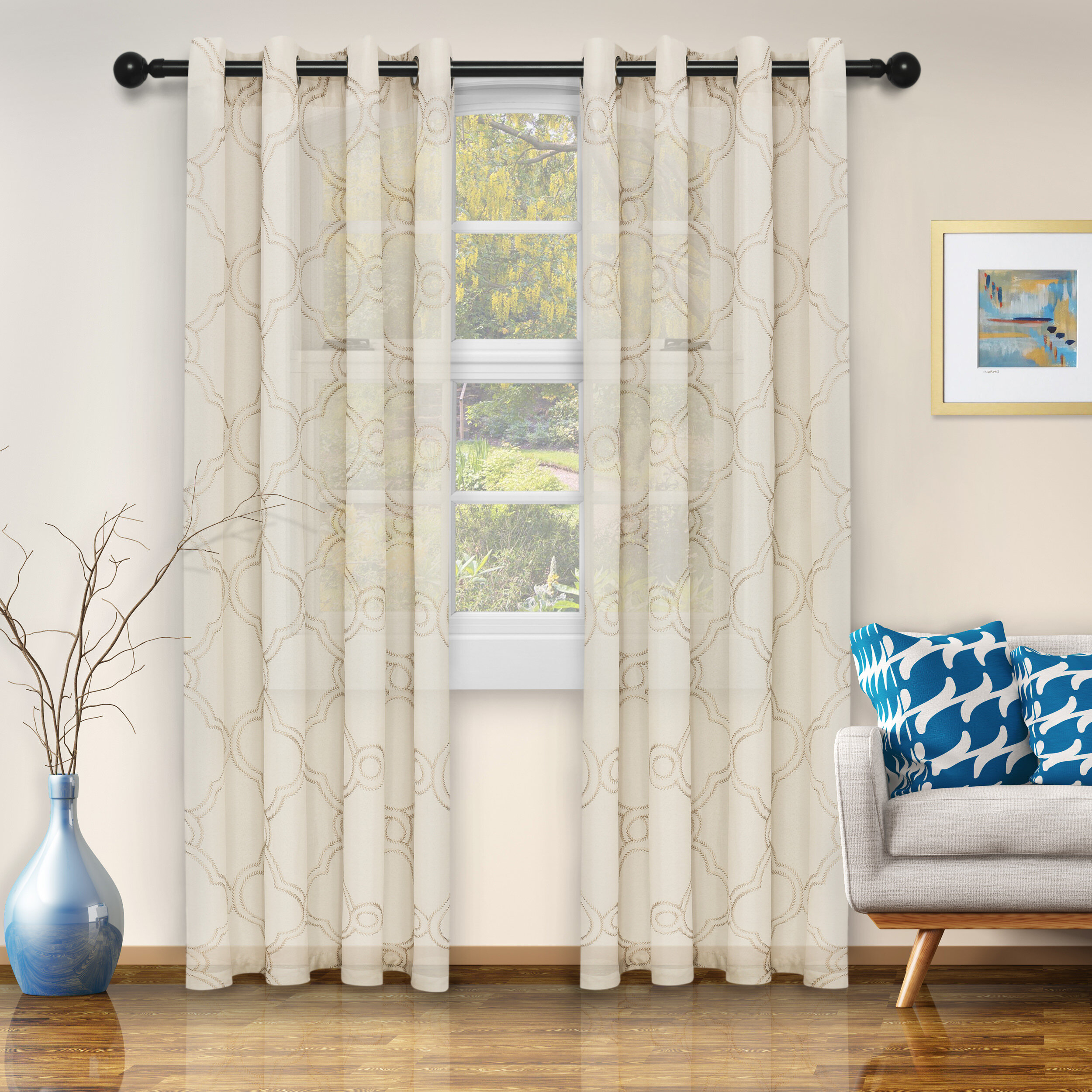 Abarca Moroccan Printed Semi Sheer Grommet Panel Pair Inside Wavy Leaves Embroidered Sheer Extra Wide Grommet Curtain Panels (View 23 of 30)