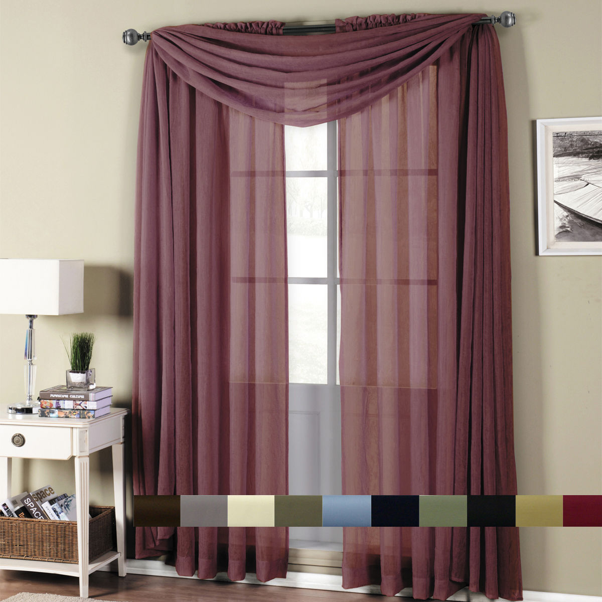 Abri Rod Pocket Crushed Sheer Window Curtain Panels Or Scarf, Beautiful Decor With Regard To Infinity Sheer Rod Pocket Curtain Panels (View 1 of 20)