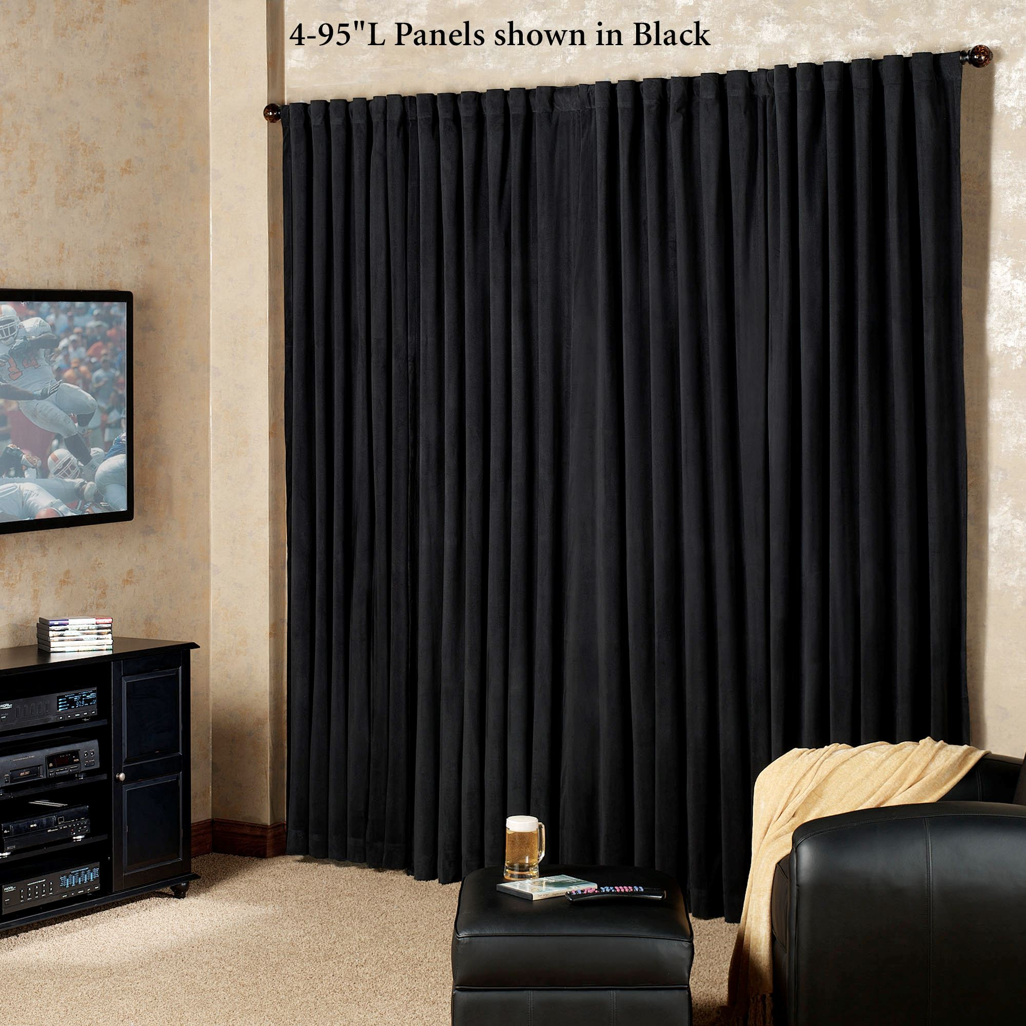 Absolute Zero Eclipse Home Theater Blackout Curtain Panels Throughout Solid Cotton True Blackout Curtain Panels (View 14 of 30)