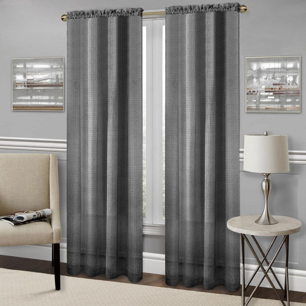 Achim Richmond Black Polyester Rod Pocket Curtain – 52 In. W X 63 In (Image 2 of 20)