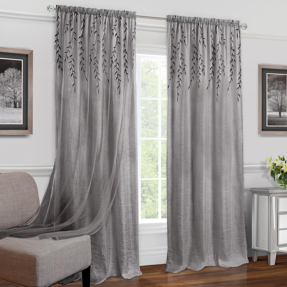 Achim Willow Grey Polyester Rod Pocket Curtain – 42 In. W X 84 In (View 13 of 20)