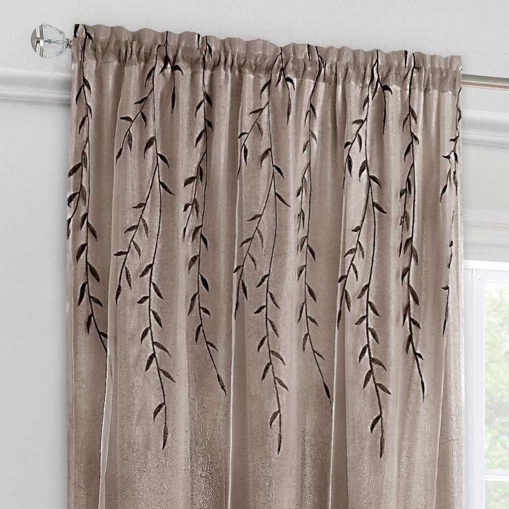Achim Willow Toffee Polyester Rod Pocket Curtain – 42 In. W X 84 In (View 6 of 30)