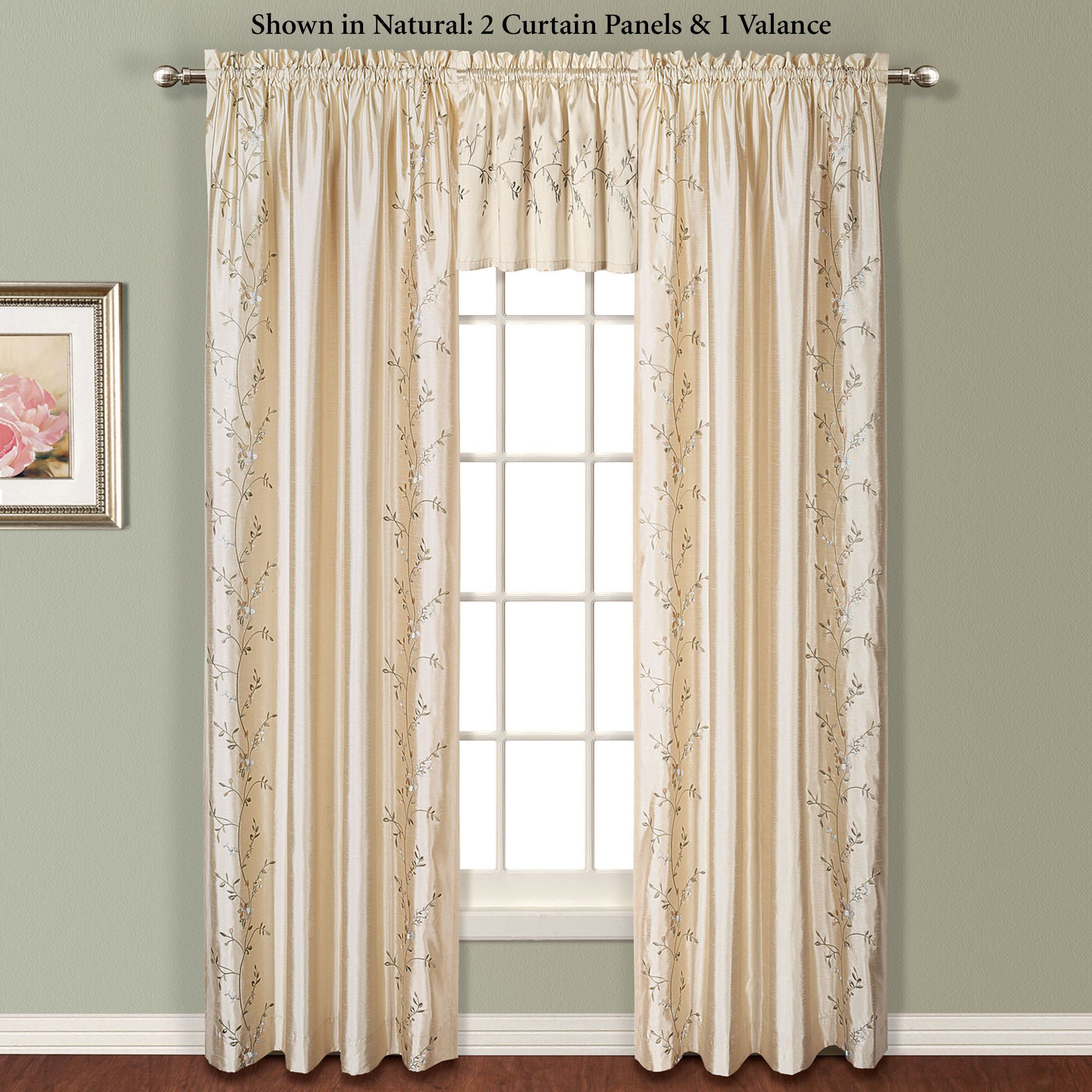 Addison Embroidered Floral Faux Silk Window Treatment In Ofloral Embroidered Faux Silk Window Curtain Panels (View 3 of 20)