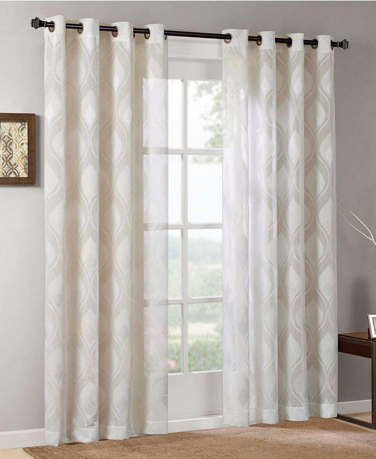 Adele 50 X 95 Ogee Jacquard Sheer Grommet Window Panel In Within Vina Sheer Bird Single Curtain Panels (View 7 of 30)