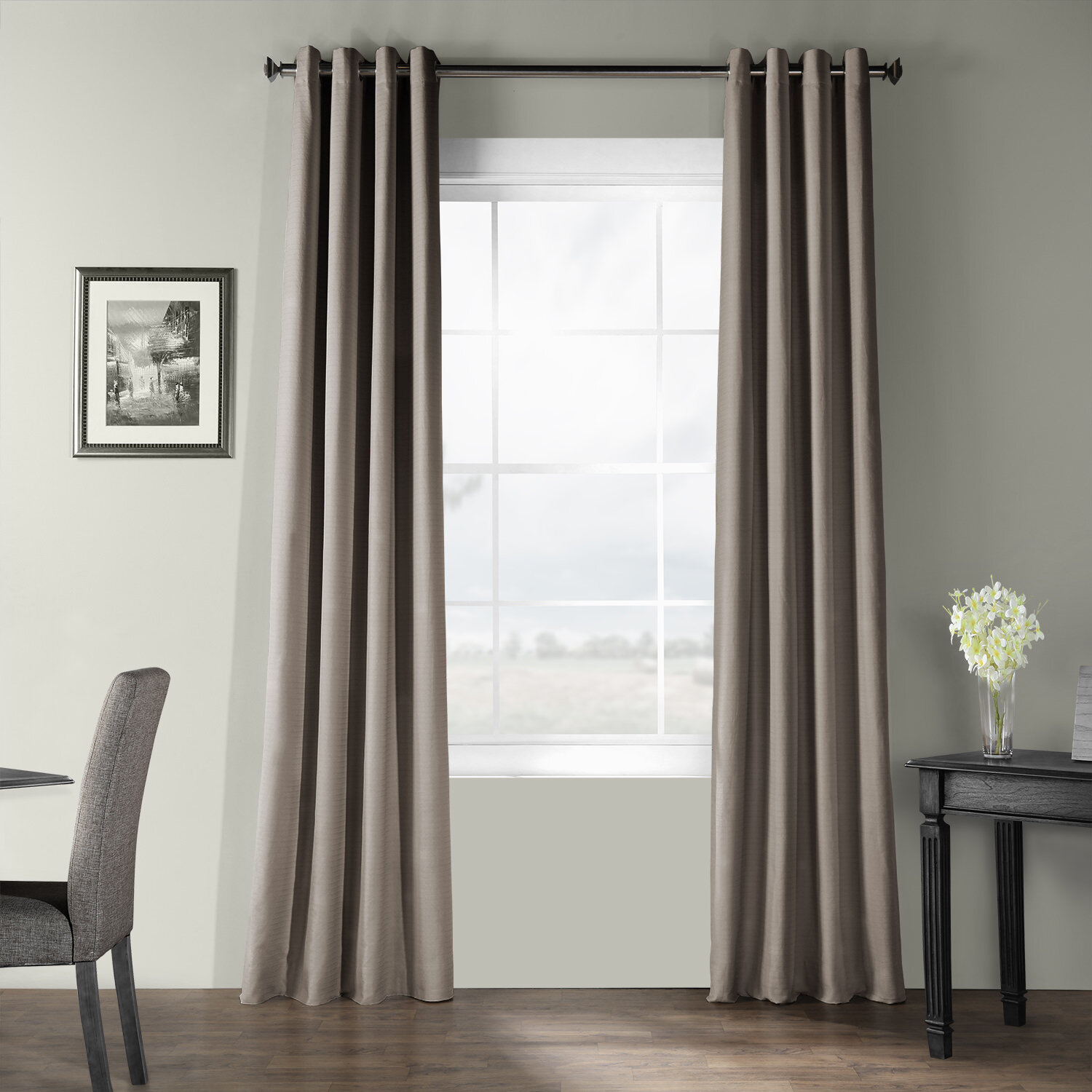 Adrien Solid Cotton Textured Room Darkening Grommet Single Curtain Panel Regarding Solid Cotton Curtain Panels (View 3 of 30)