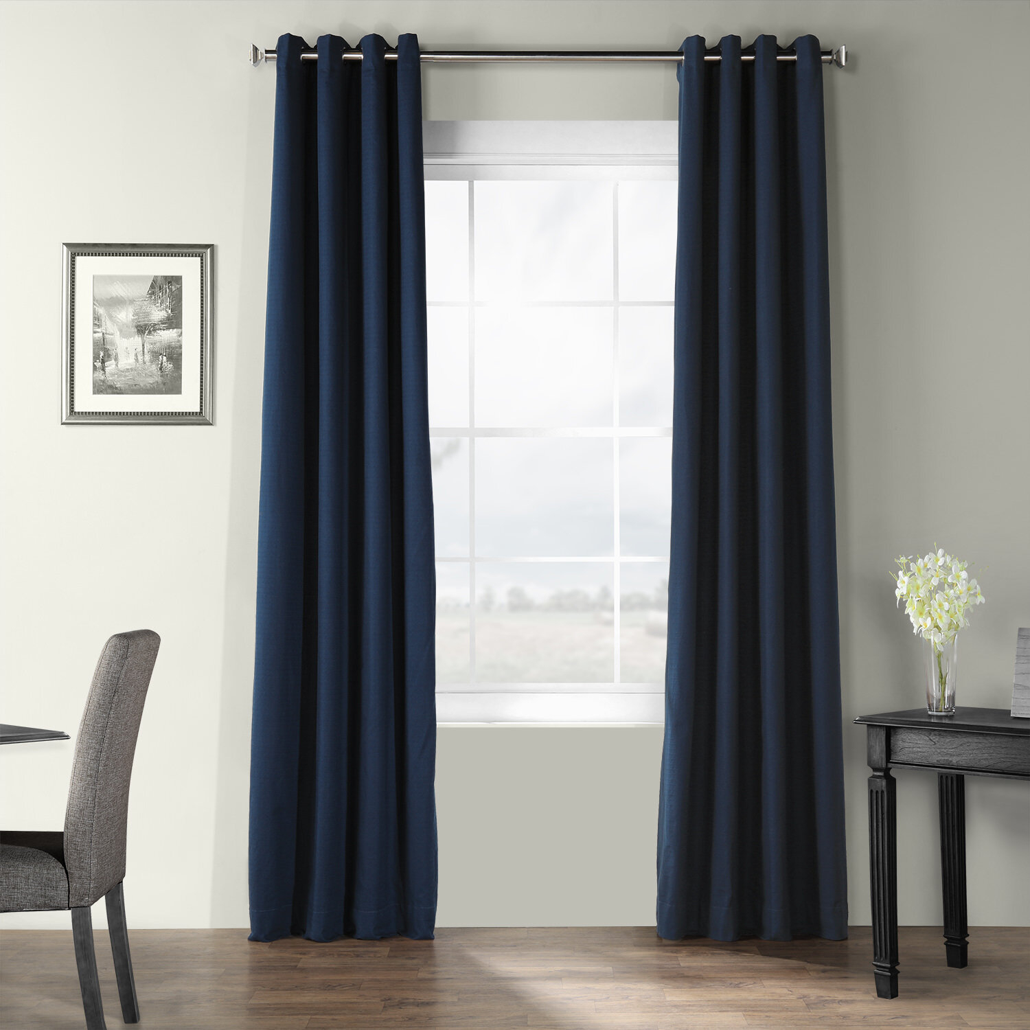 Adrien Solid Cotton Textured Room Darkening Grommet Single Curtain Panel Throughout Solid Cotton Curtain Panels (View 4 of 30)