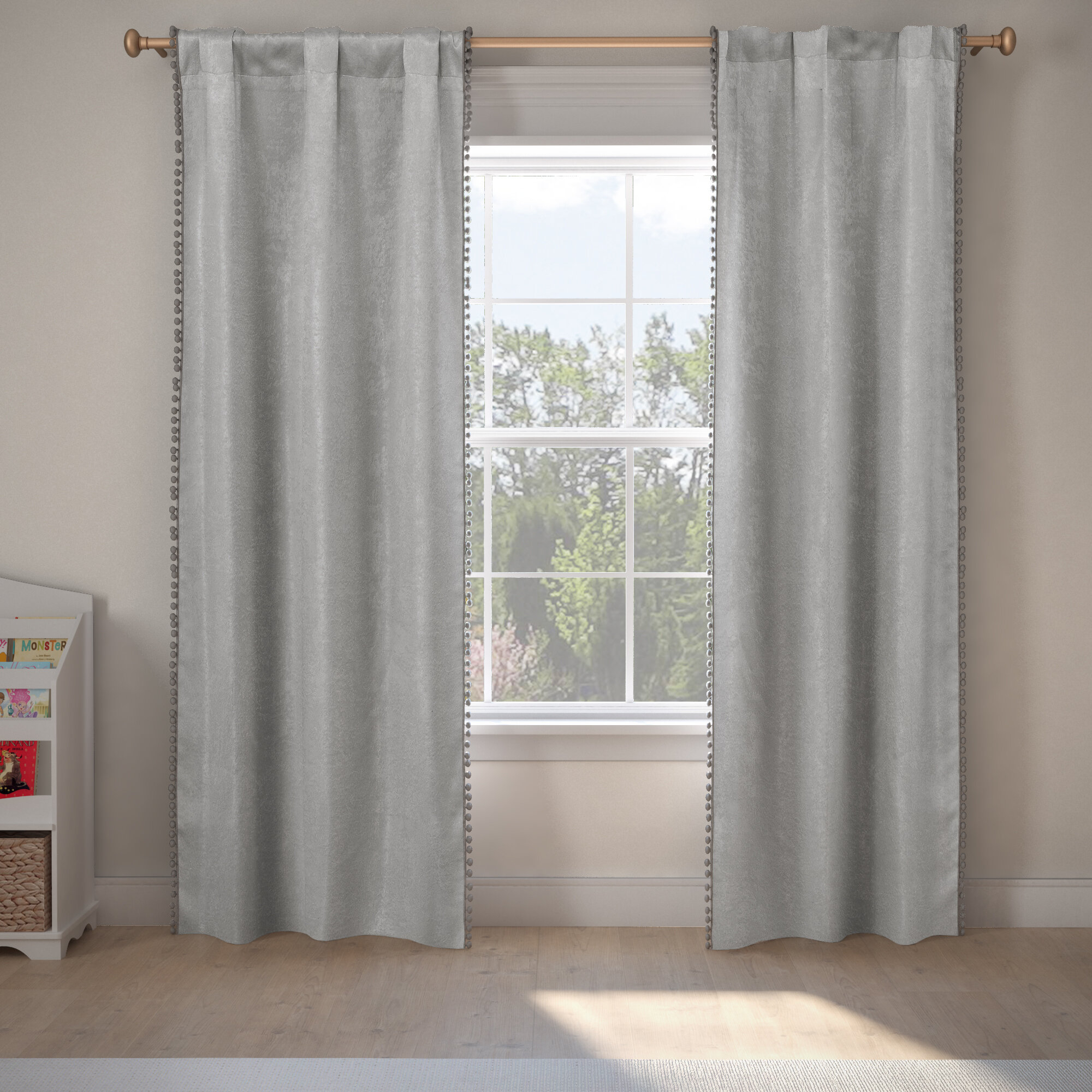 Albrecht Pom Poms Solid Blackout Thermal Rod Pocket Panel Pair Intended For Thermal Rod Pocket Blackout Curtain Panel Pairs (View 7 of 30)