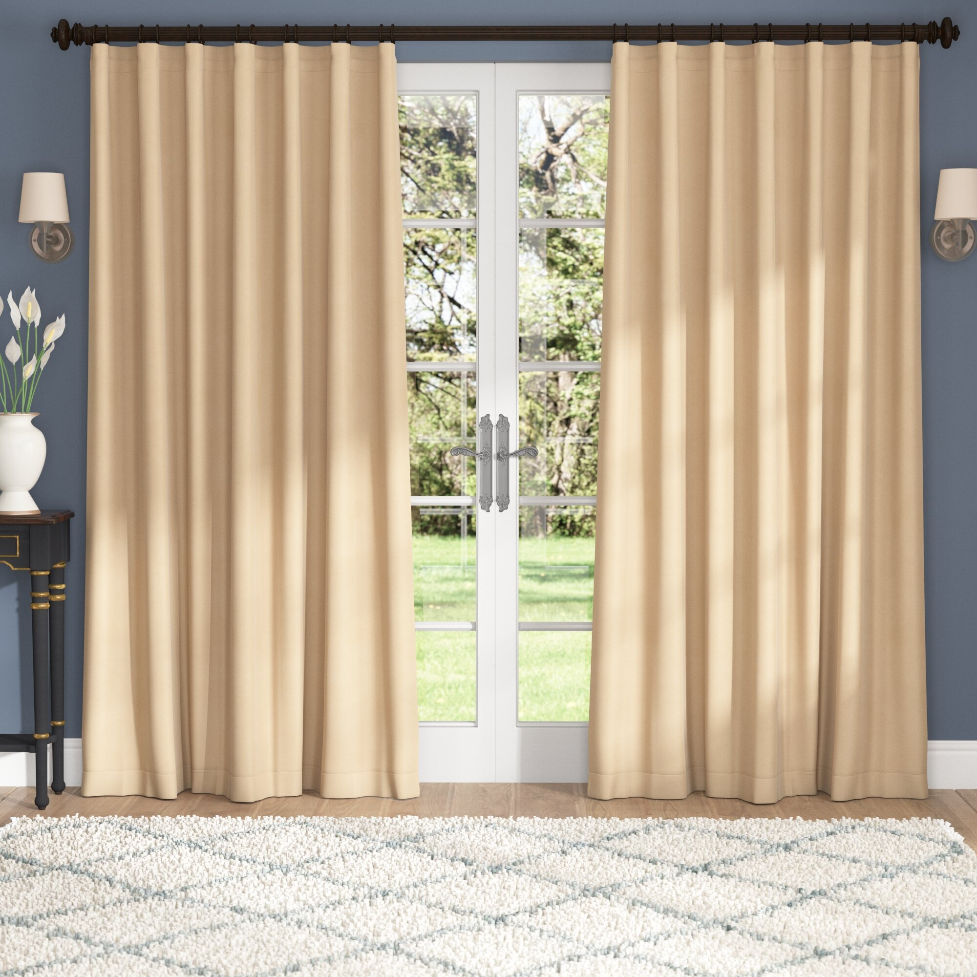 Alcott Hill Aldreda Extra Wide Solid Blackout Thermal Rod Pertaining To Faux Silk Extra Wide Blackout Single Curtain Panels (View 10 of 20)