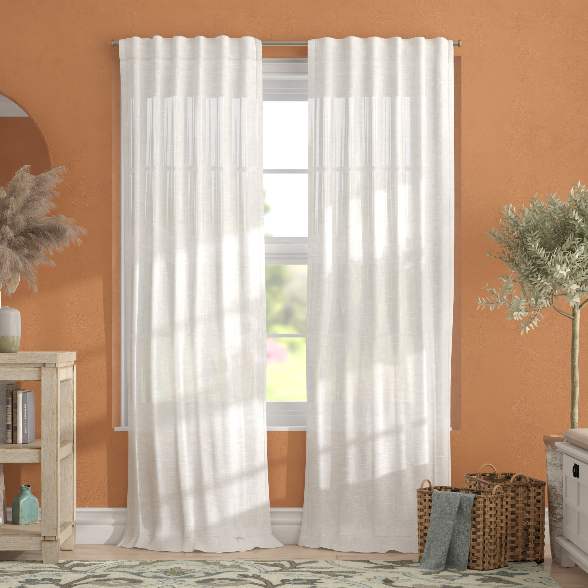 Alcott Hill Leon Solid Sheer Tab Top Curtain Panels Pertaining To Vue Elements Priya Tab Top Window Curtains (View 14 of 30)