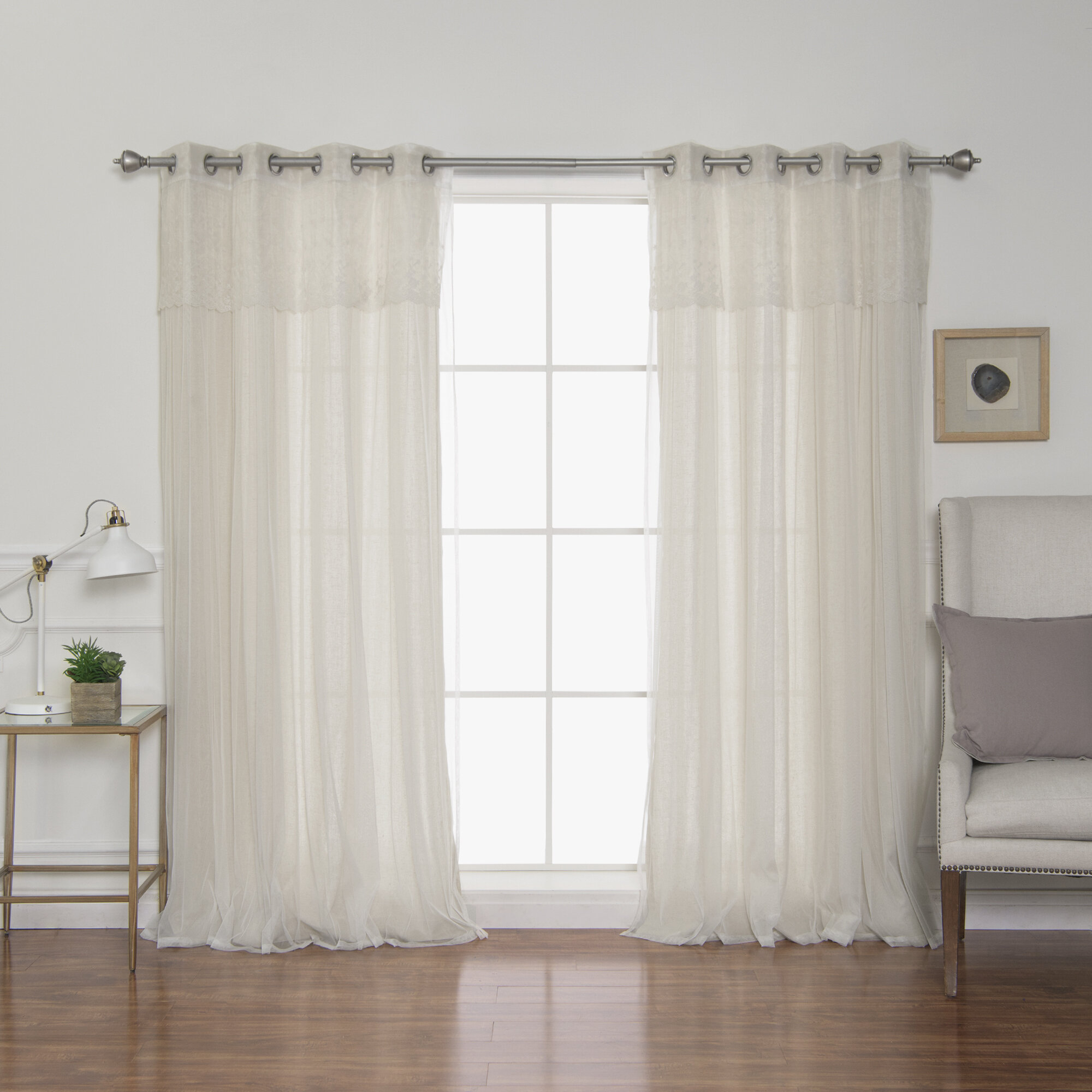 Alers Solid Semi Sheer Grommet Curtain Panels Within Tulle Sheer With Attached Valance And Blackout 4 Piece Curtain Panel Pairs (View 11 of 30)