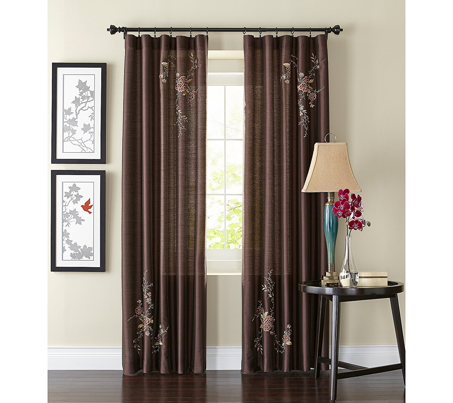 Alesandra Floral Embroidered Faux Silk Window Curtain Panel, Brown, 44 Inch X 84 Inch, Drapes Pinch Bordeaux 56inch Treatment Curtain Swag Orange. (View 10 of 20)