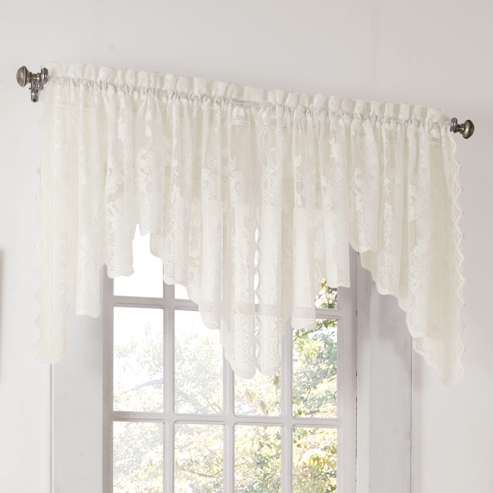 "Alison 58"" Window Valance | Products | Cenefas, Cortinas Inside Alison Rod Pocket Lace Window Curtain Panels (Image 3 of 20)"