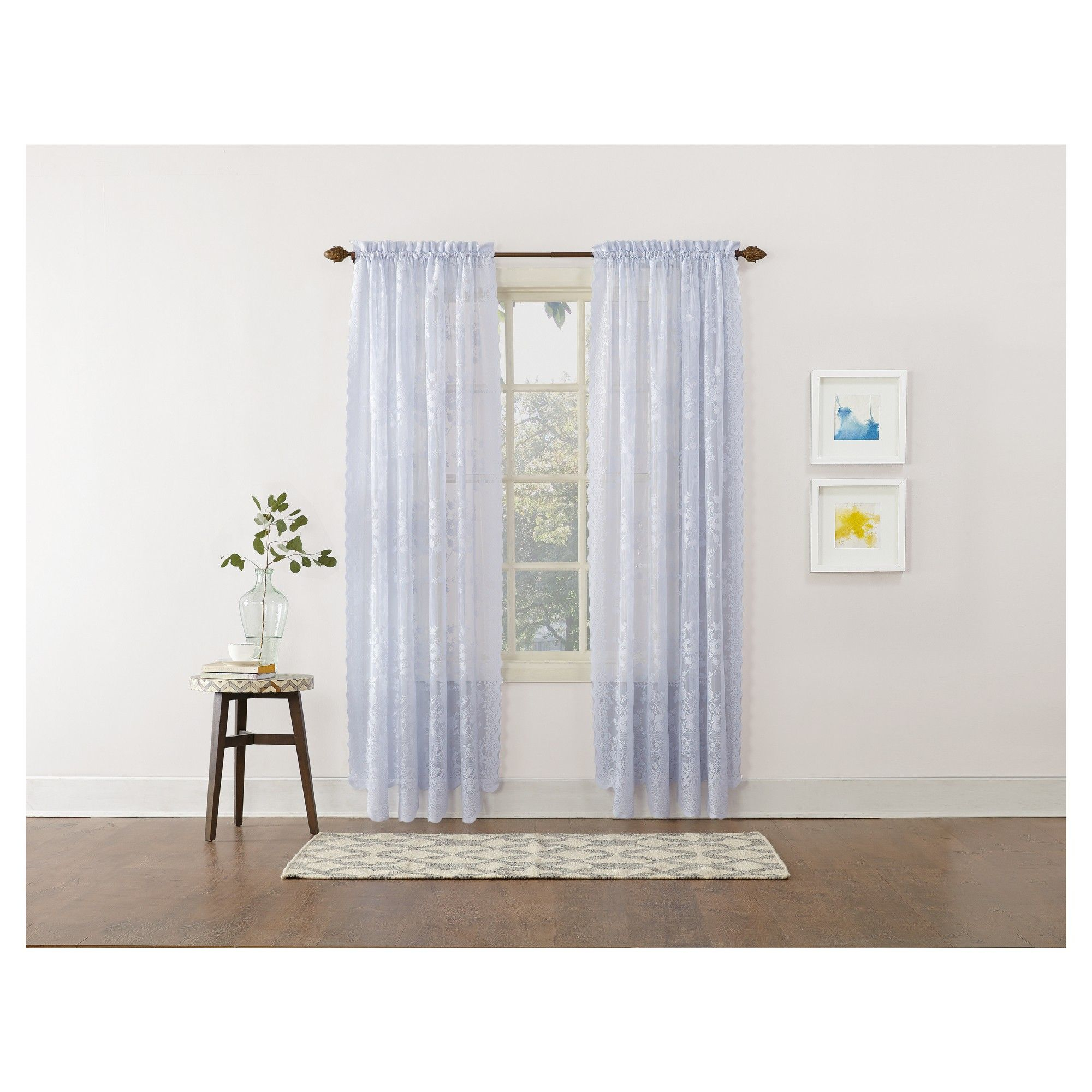 Alison Floral Sheer Lace Rod Pocket Curtain Panel Blue 58 Regarding Alison Rod Pocket Lace Window Curtain Panels (View 4 of 20)