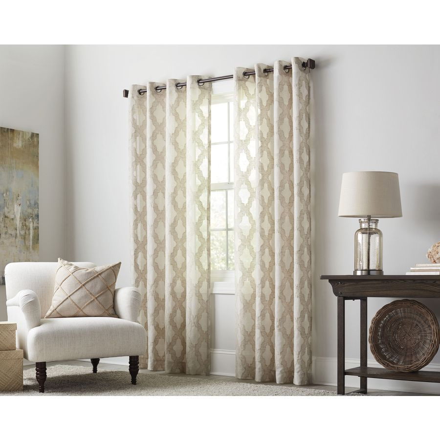 Allen + Roth Breesport 63 In Oat Polyester Grommet Light Throughout Light Filtering Sheer Single Curtain Panels (View 7 of 20)