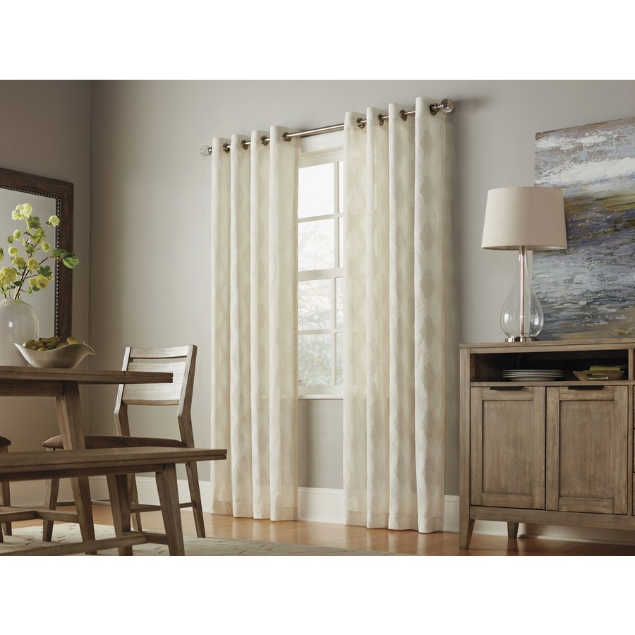 Allen + Roth Breesport 84 In Linen Polyester Sheer Single Within Light Filtering Sheer Single Curtain Panels (View 4 of 20)