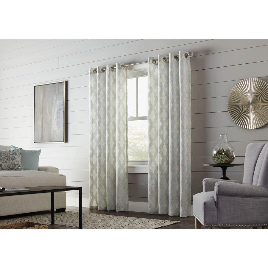 Allen + Roth Breesport 84 In Mineral Polyester Grommet Light Inside Light Filtering Sheer Single Curtain Panels (View 11 of 20)