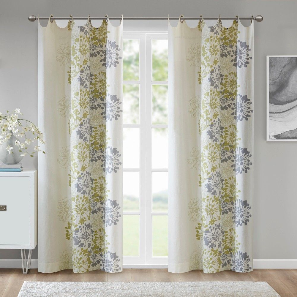 """Ally Floral Printed Curtain Panel Purple/white 50""""x84 Throughout Gray Barn Dogwood Floral Curtain Panel Pairs (View 16 of 20)"""