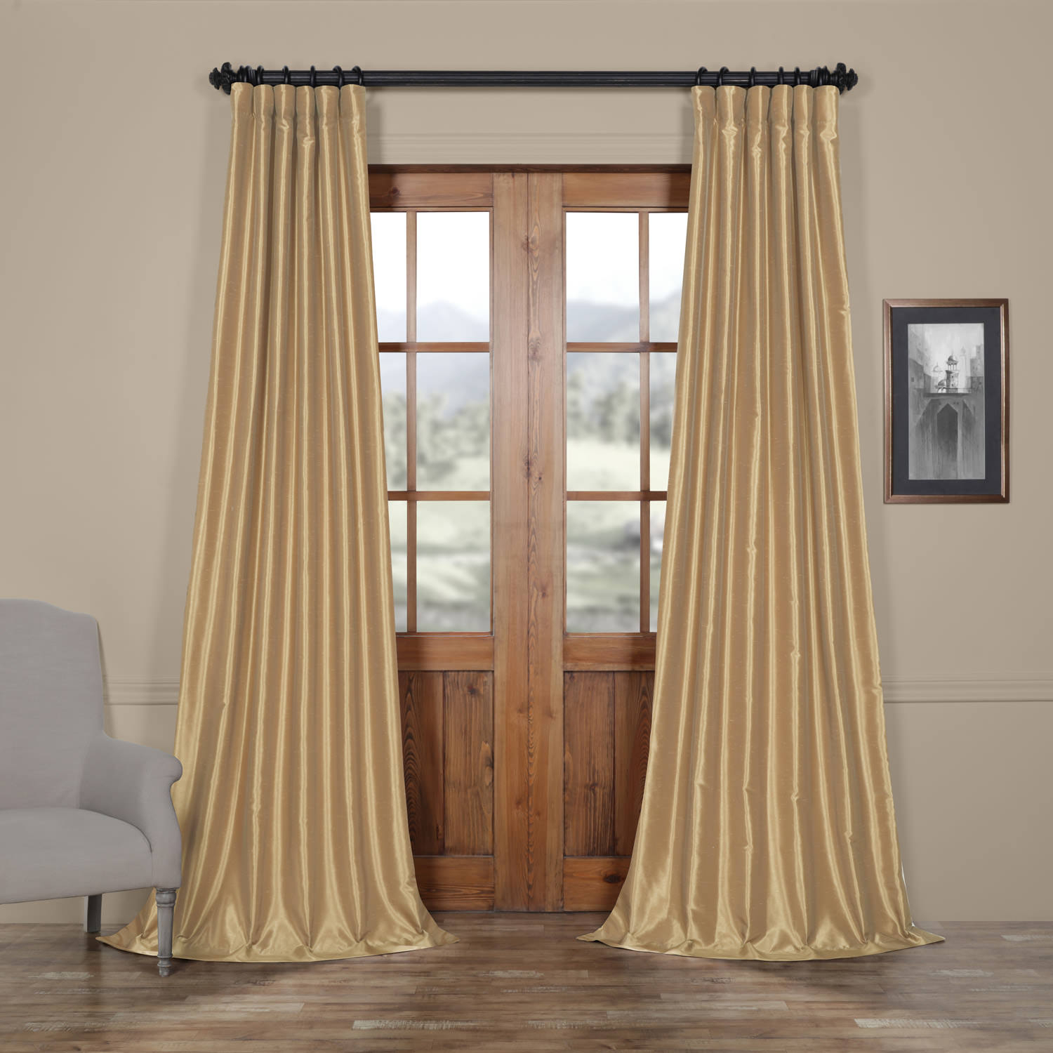 Almond Vintage Textured Faux Dupioni Silk Curtain Intended For Storm Grey Vintage Faux Textured Dupioni Single Silk Curtain Panels (View 1 of 30)