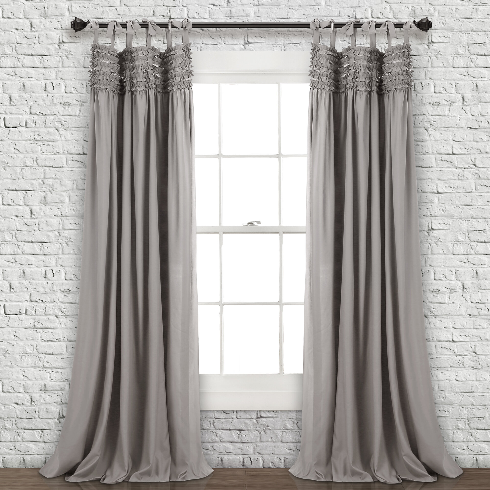 Aloysia Ruffle Pair Solid Tab Top Curtains Within Ruffle Diamond Curtain Panel Pairs (View 11 of 20)