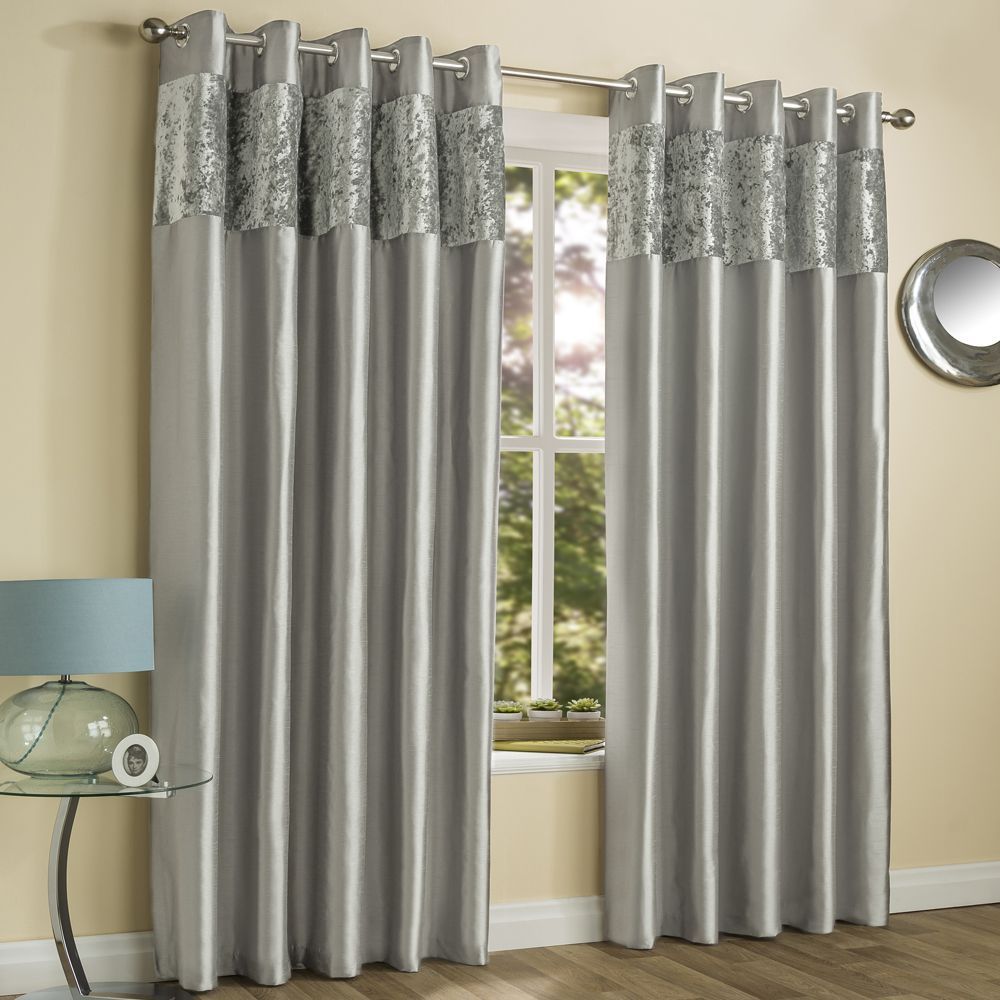 Amalfi Crushed Velvet Fully Lined Ring Top Curtains – Silver Intended For Velvet Dream Silver Curtain Panel Pairs (View 8 of 31)
