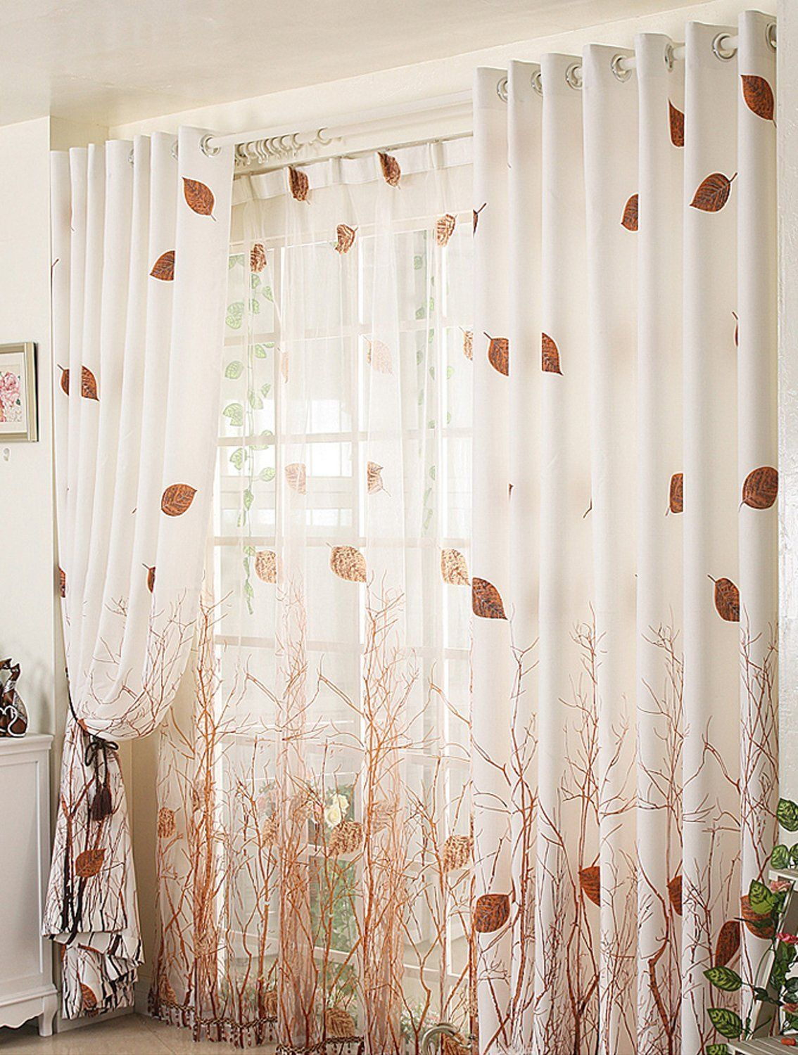 Amazon: Elleweideco Modern Autumn Leaf Tree Branch Sheer With Montpellier Striped Linen Sheer Curtains (View 20 of 20)
