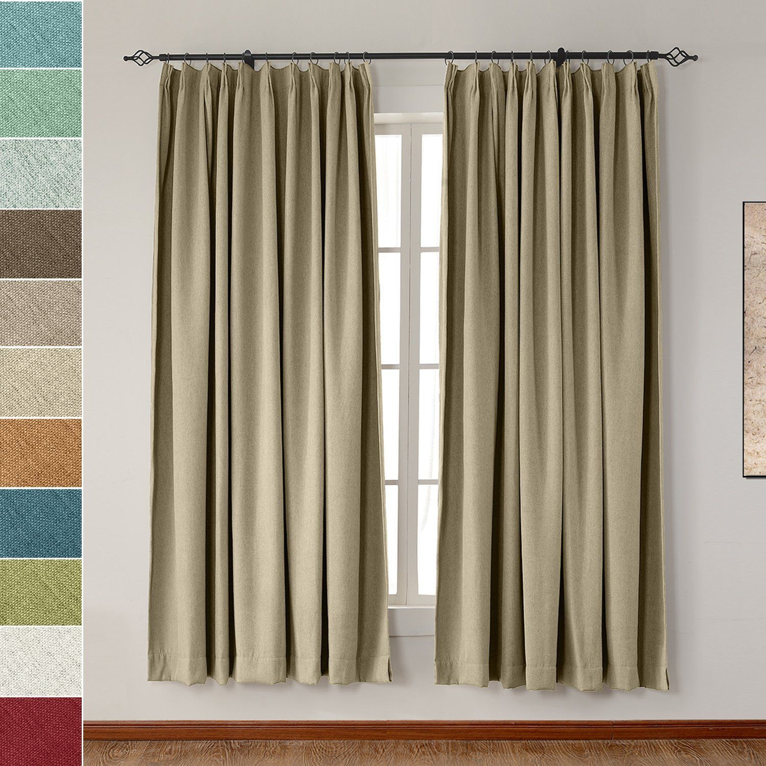 Amazon: Extra Wide Heavyweight Luxury Faux Linen Curtain For Faux Linen Extra Wide Blackout Curtains (View 12 of 20)